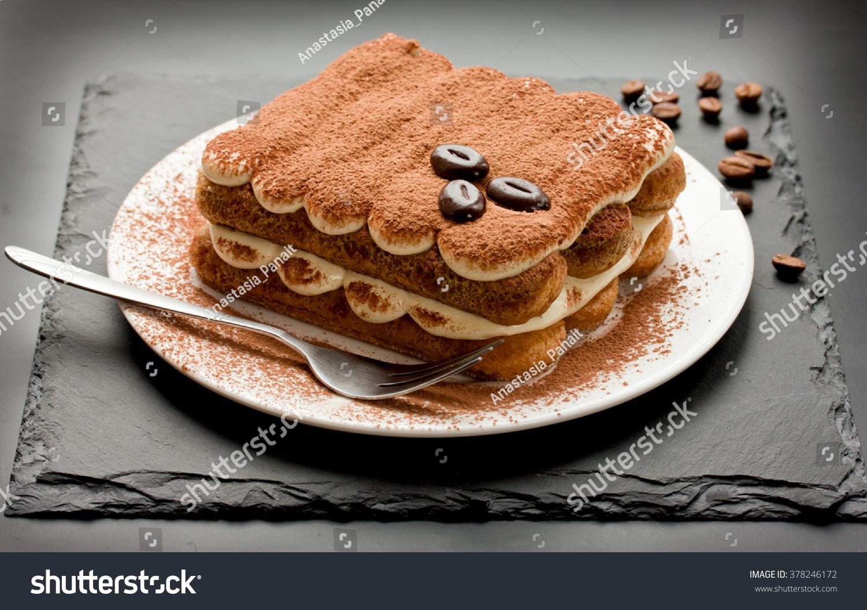Homemade Tiramisu Cake Traditional Italian Dessert Stock Photo