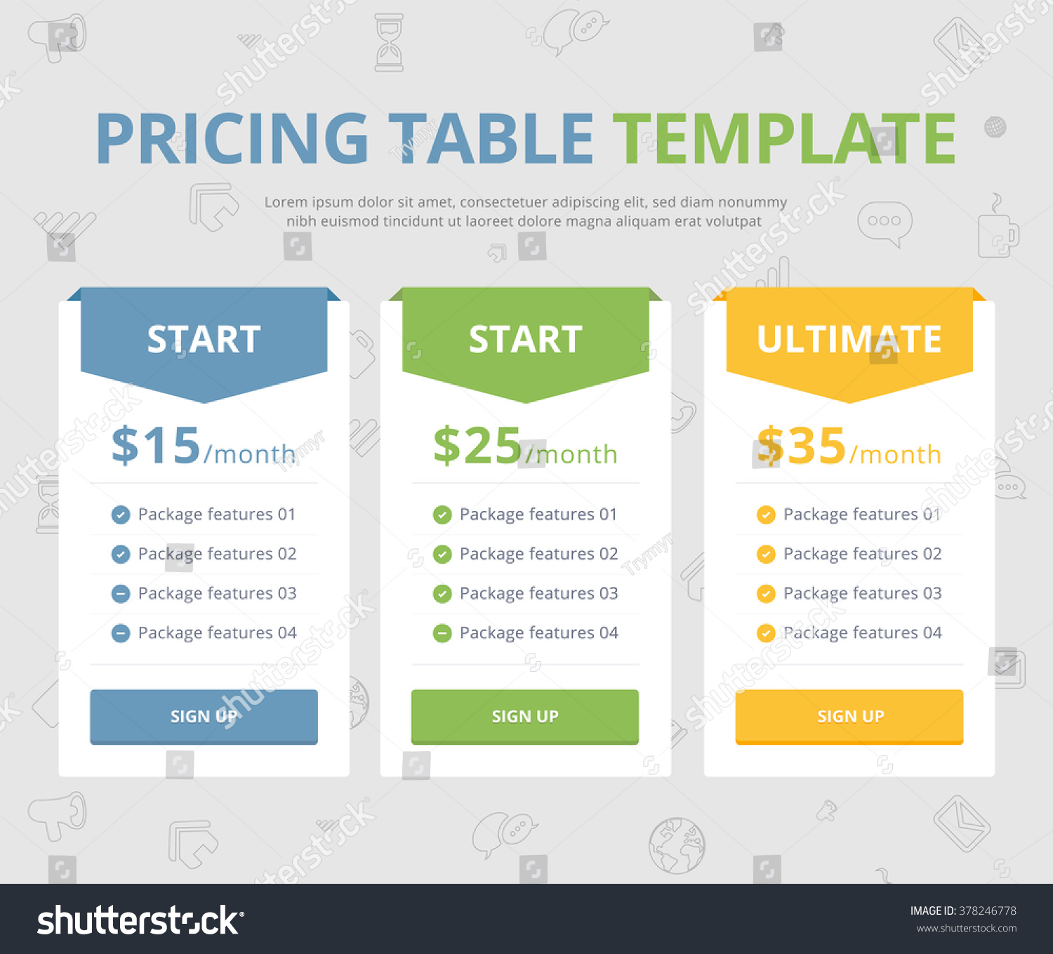 pricing table template three plan type stock vector (royalty free