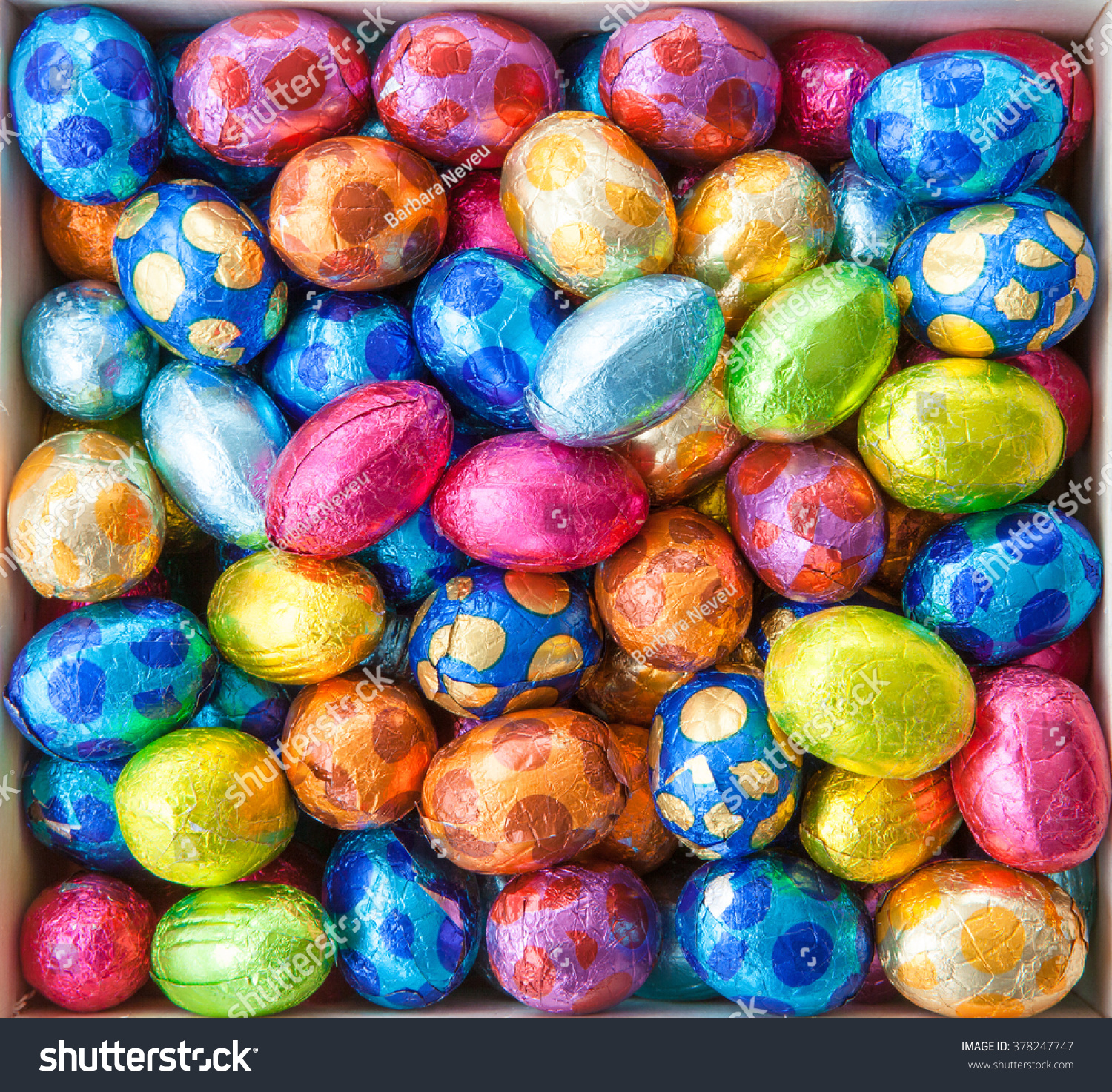 Chocolate Eggs In Colorful Foil For Easter Stock Photo