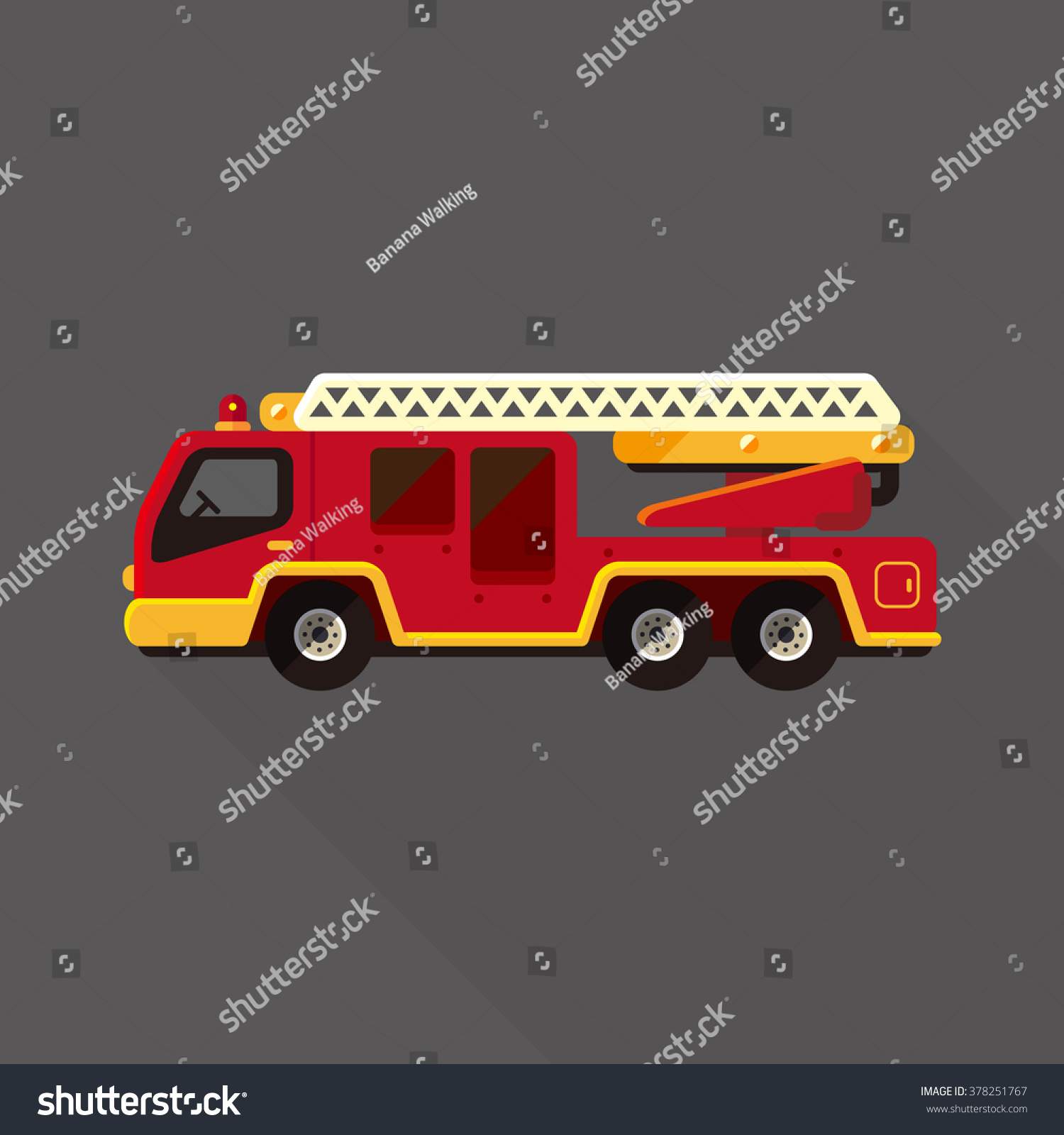 vector cute cartoon ladder fire truck stock vector royalty free