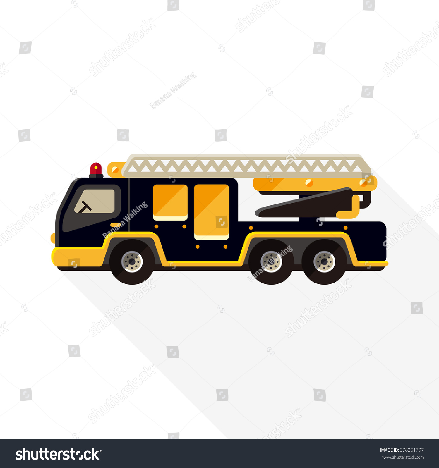 Vector cute cartoon ladder fire truck stock vector royalty free vector cute cartoon ladder fire truck flat style icon template long shadow maxwellsz