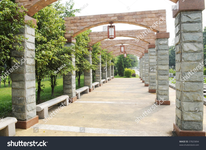 The Garden Column Corridor Pergola In A Park.