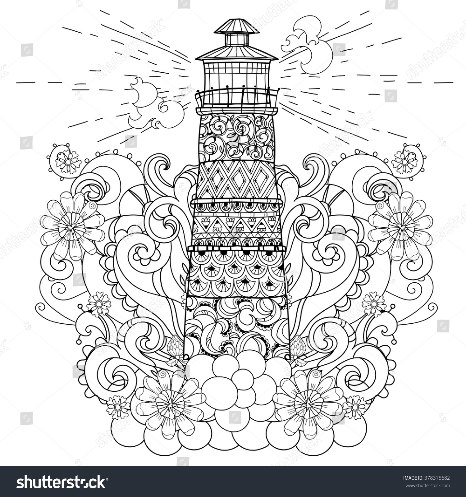 Hand Drawn Doodle Outline Lighthouse Decorated Stock Vector 378315682