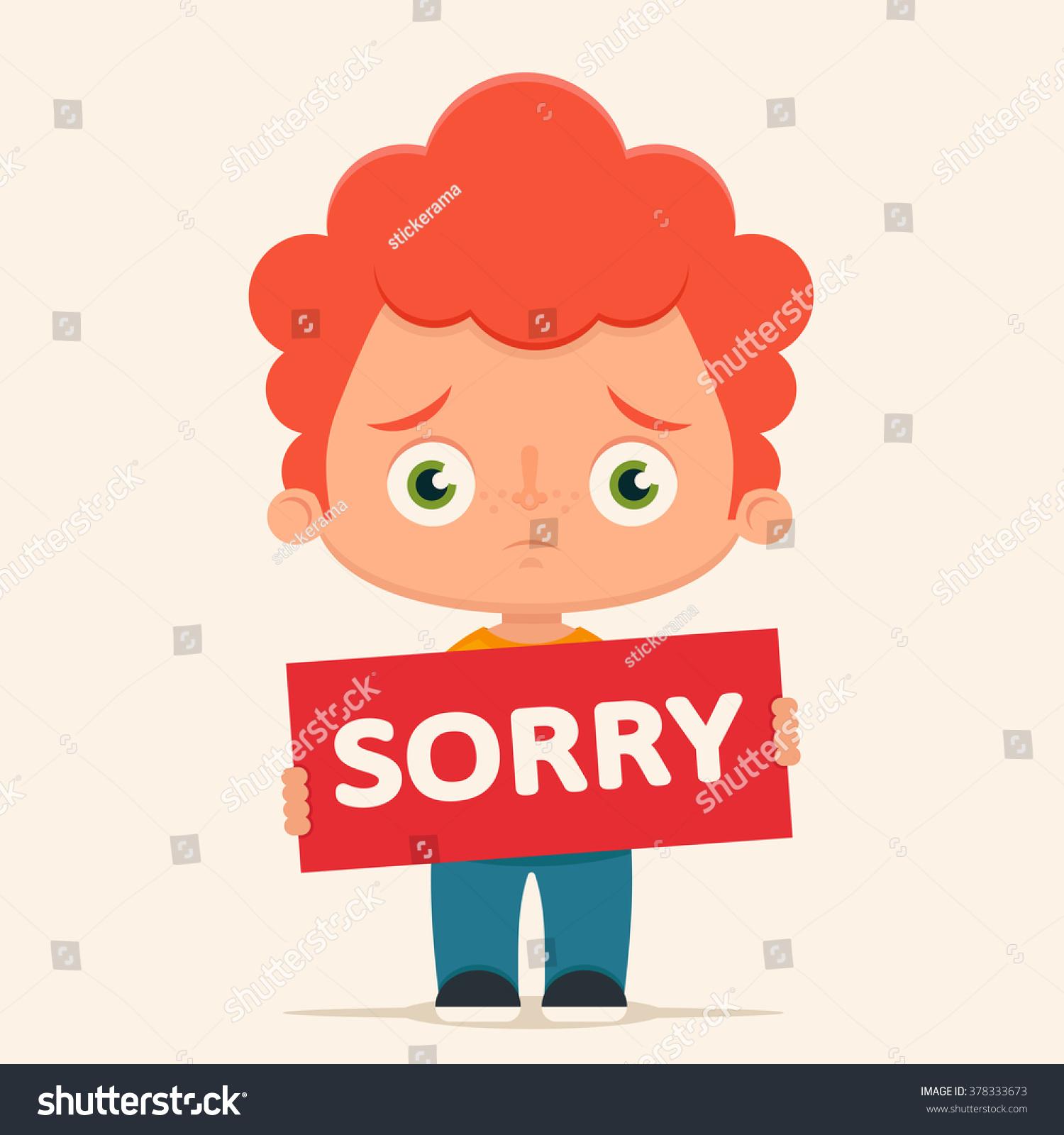 Sad Sorry Images: Sad Cartoon Boy Holding Sorry Sign Stock Vector 378333673