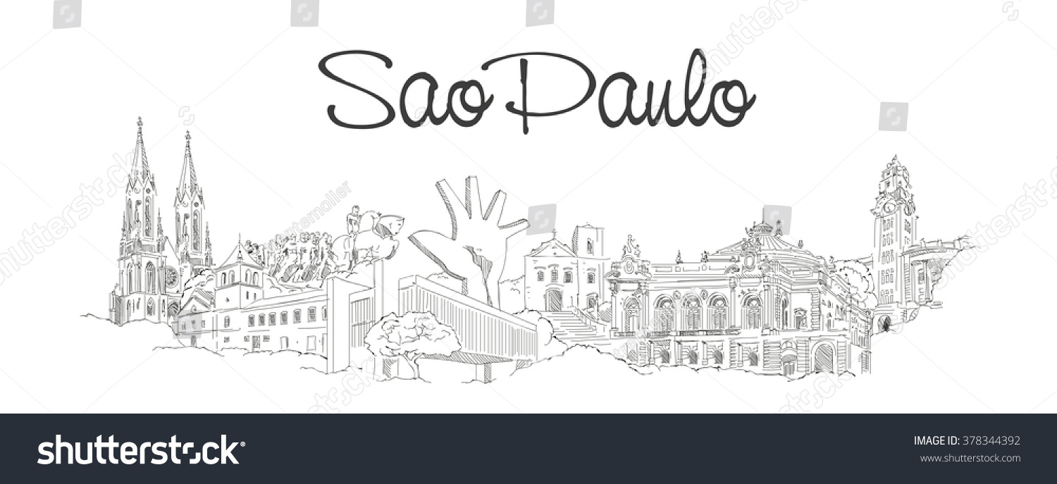 vector panoramic hand drawing sketch illustration of SAO PAULO city