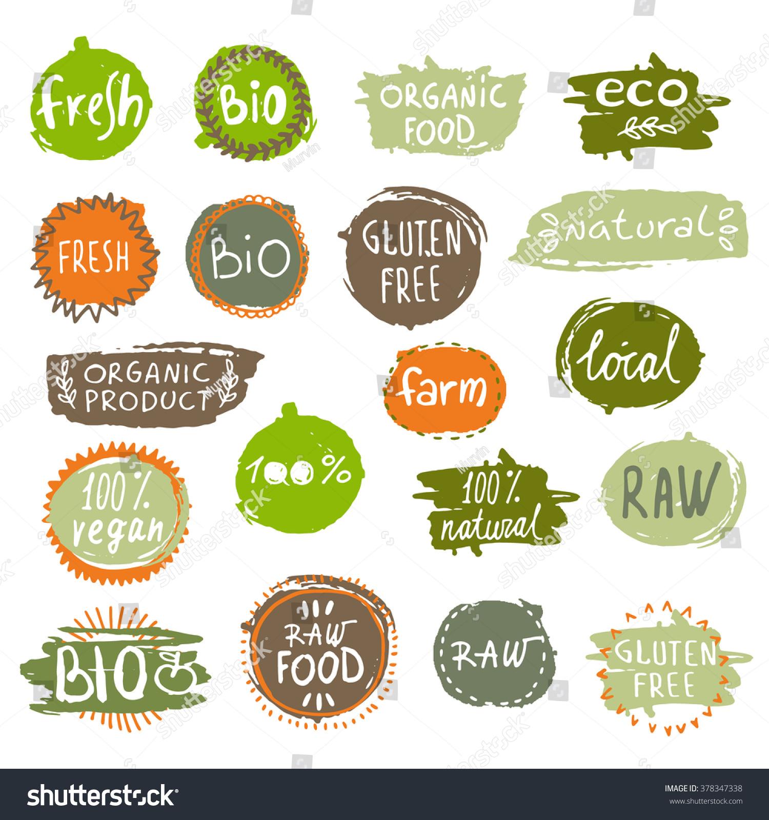 Organic food labels vector set vintage stock