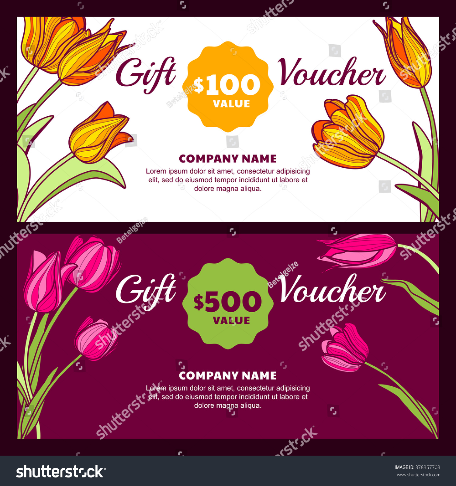 vector floral gift voucher template colorful stock vector vector floral gift voucher template colorful spring background pink and yellow tulip flowers