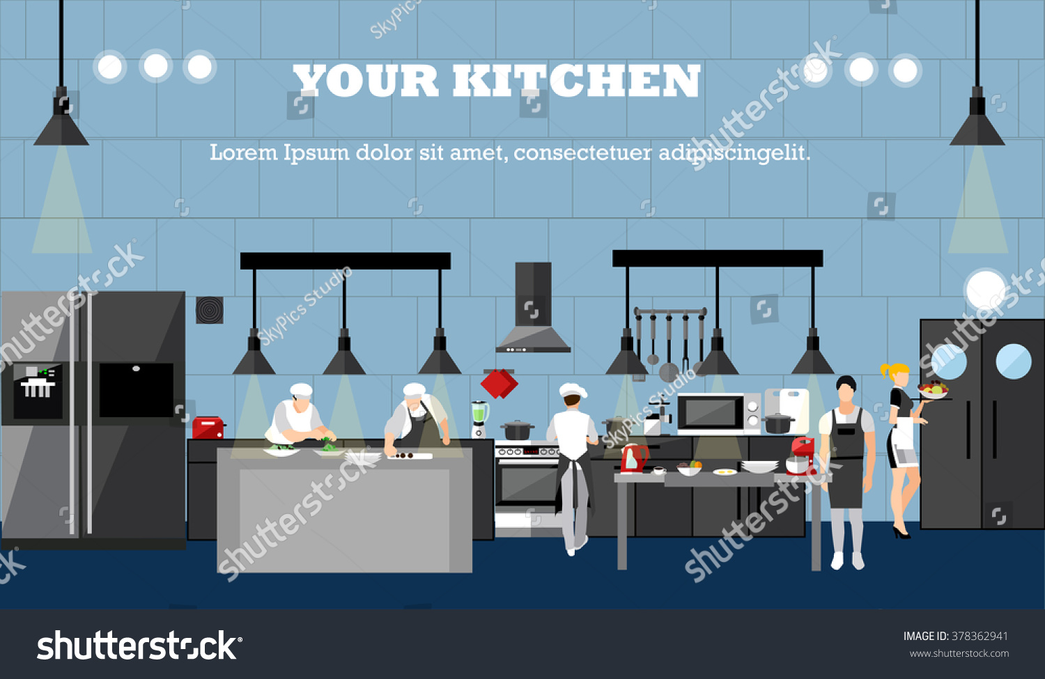 Restaurant Kitchen Illustration vector banner restaurant interiors chefs cooking stock vector