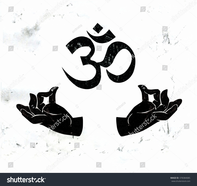 Vector Illustration Hands Meditating Yoga Pose Stock Vector Royalty