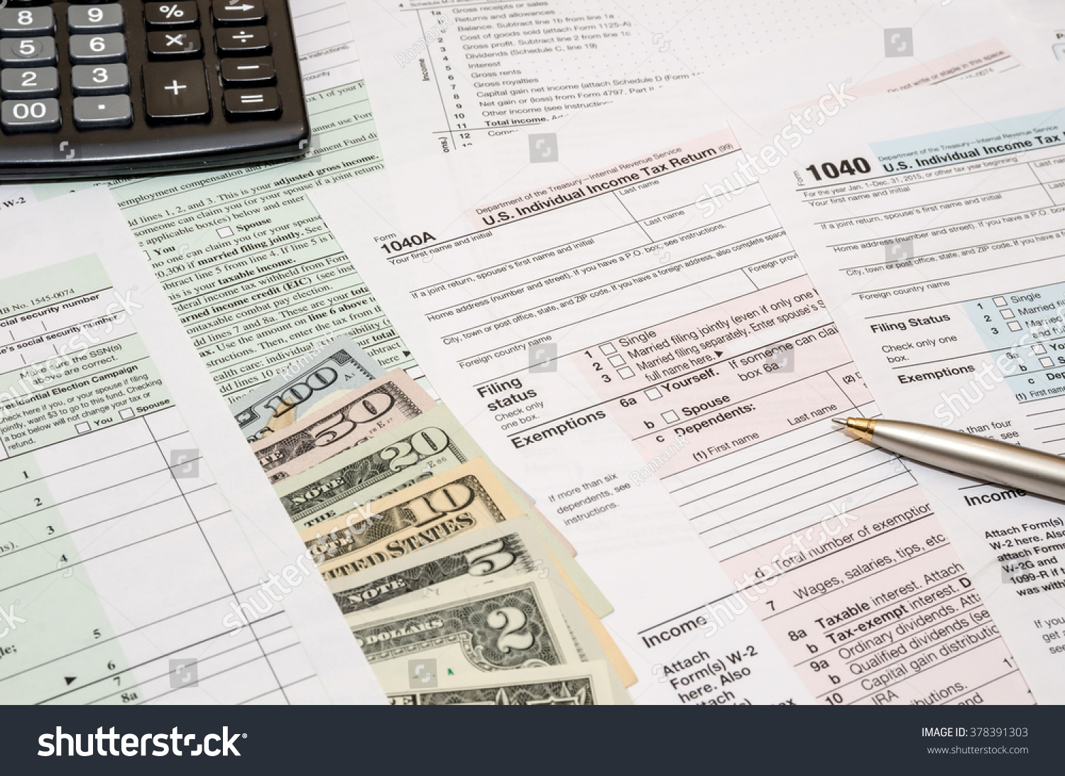 1040 Tax Form With Pen Dollar And Calculator Ez Canvas