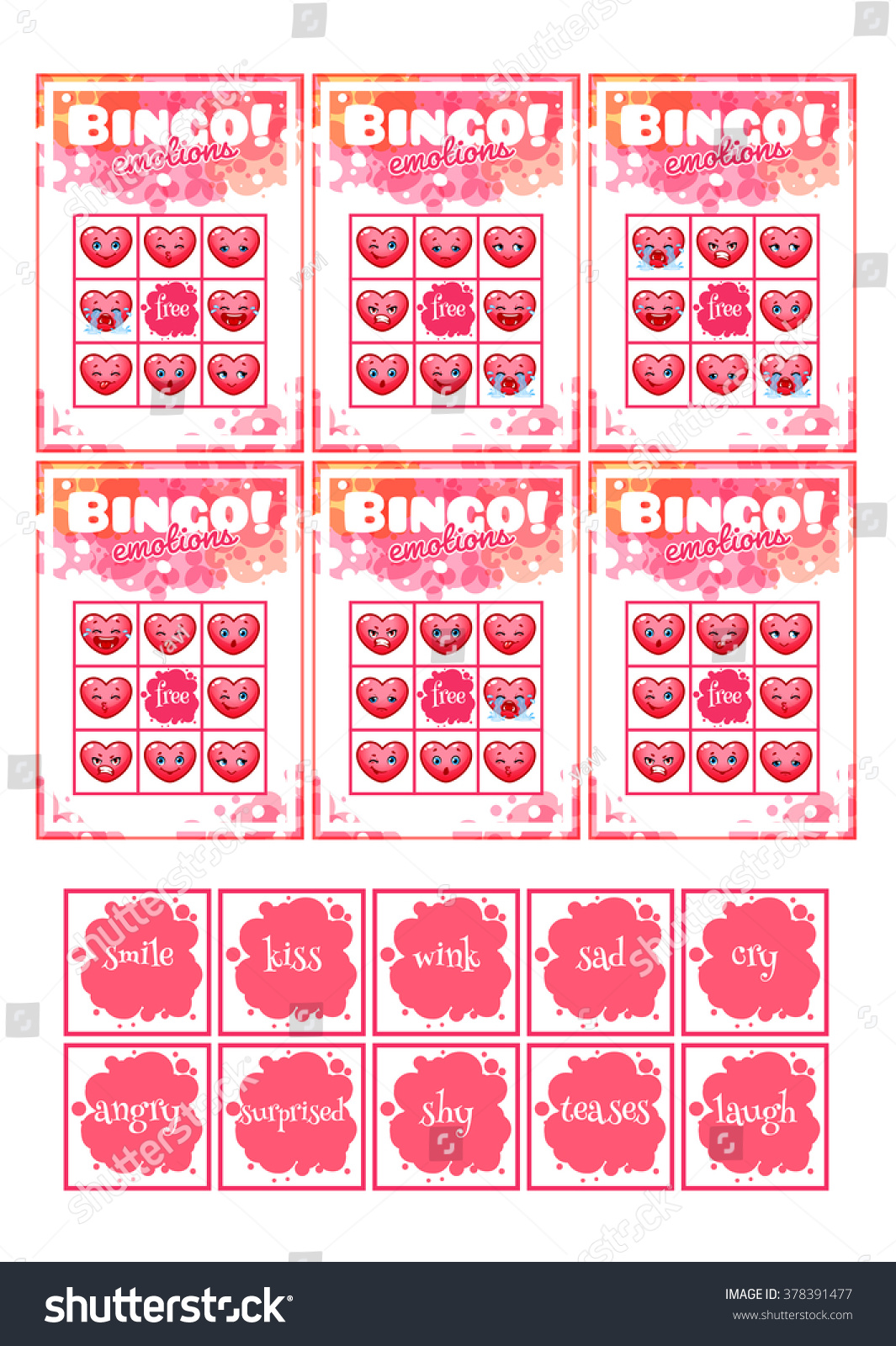Printable Educational Bingo Game Preschool Kids Stock Vector