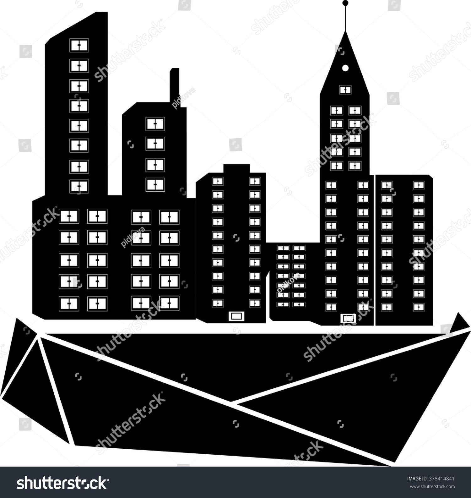 Black City Icon On White Background Stock Vector 378414841 ...