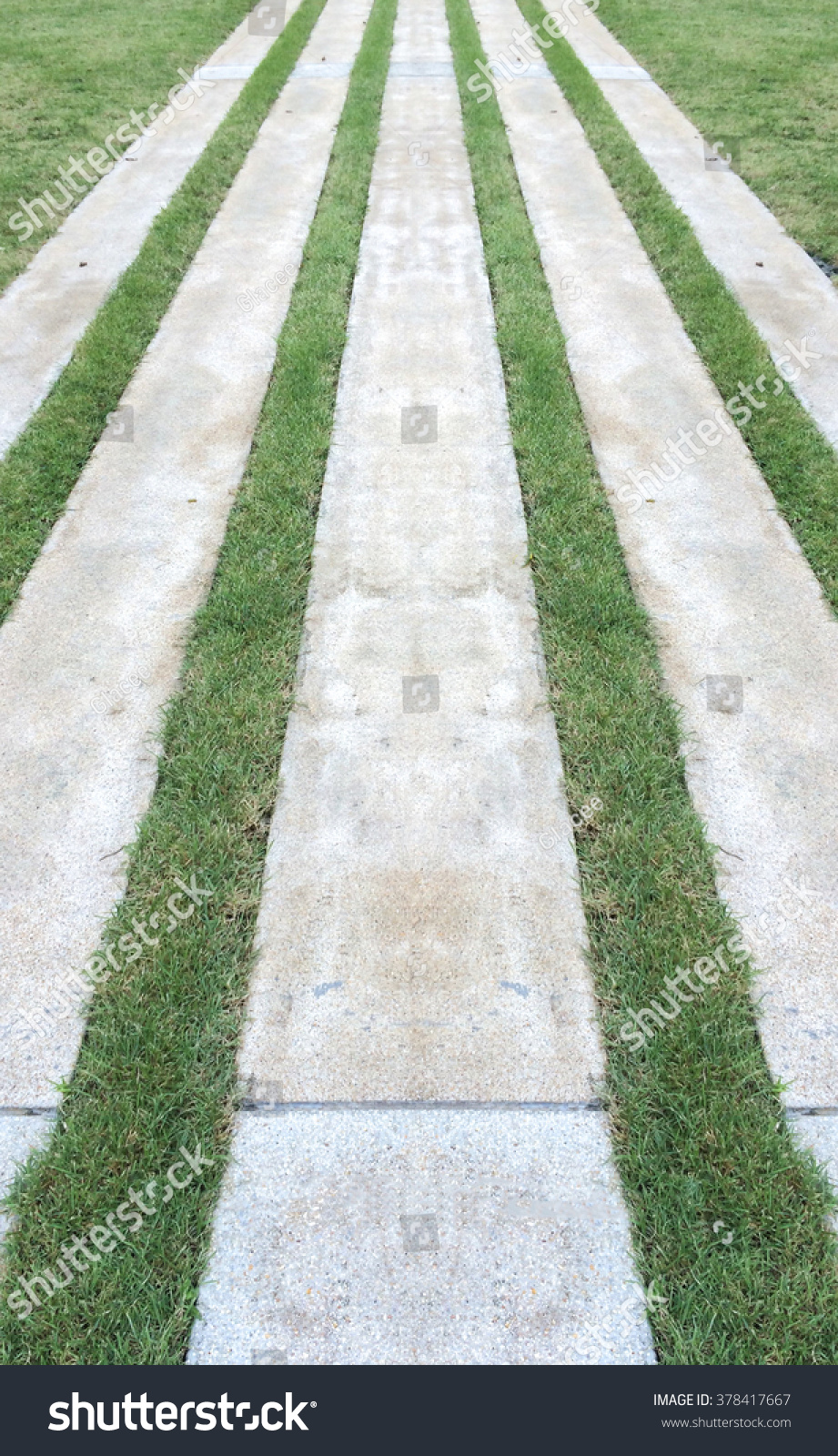 Modern Gardening Design. Perspective View Of Marble Brick Stone Flooring  Tiles Square Pattern On The