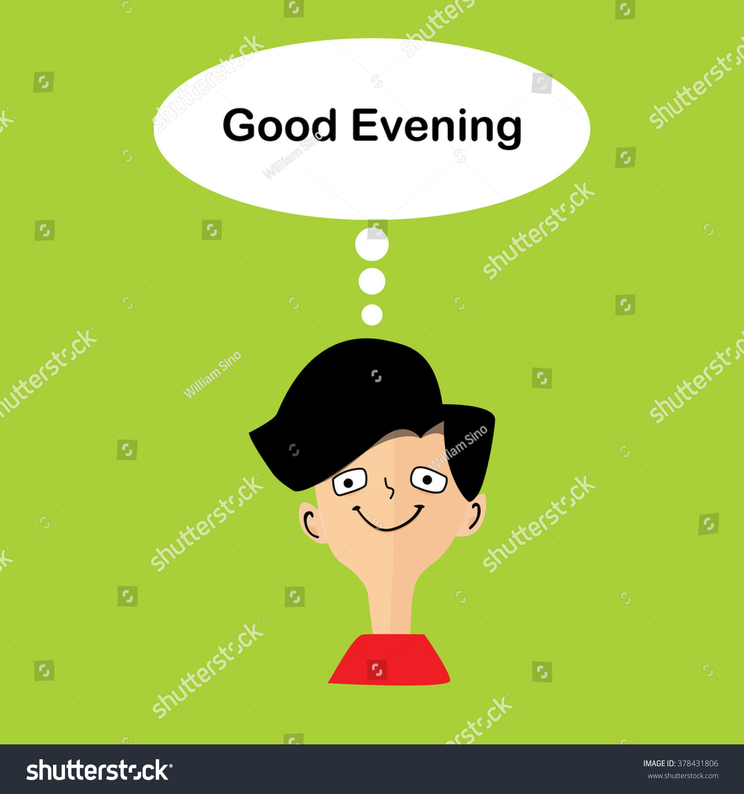 Men Message Good Evening On Top Stock Vector Royalty Free