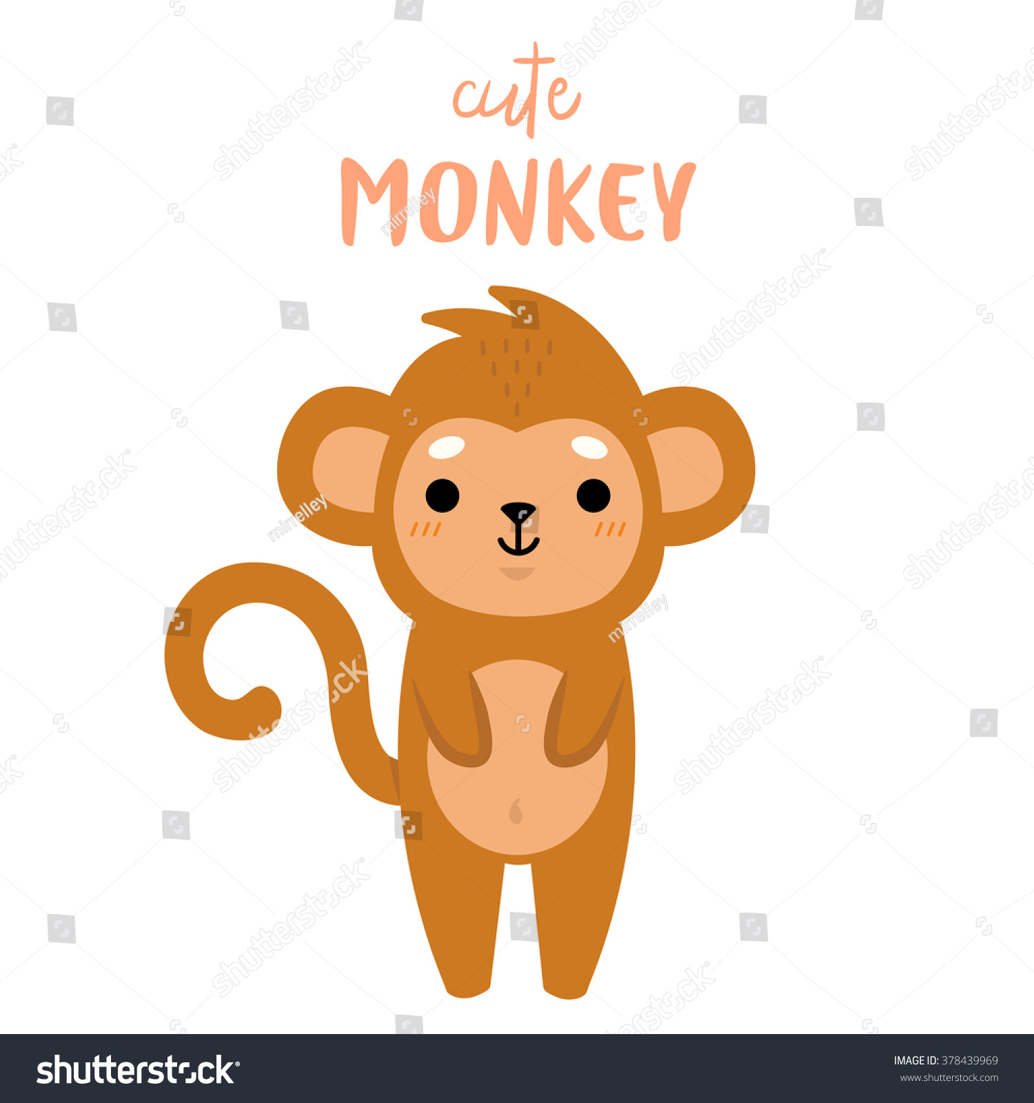 Illustration cute cartoon baby monkey on stock vector royalty free illustration of cute cartoon baby monkey on white background can be used for greeting cards m4hsunfo