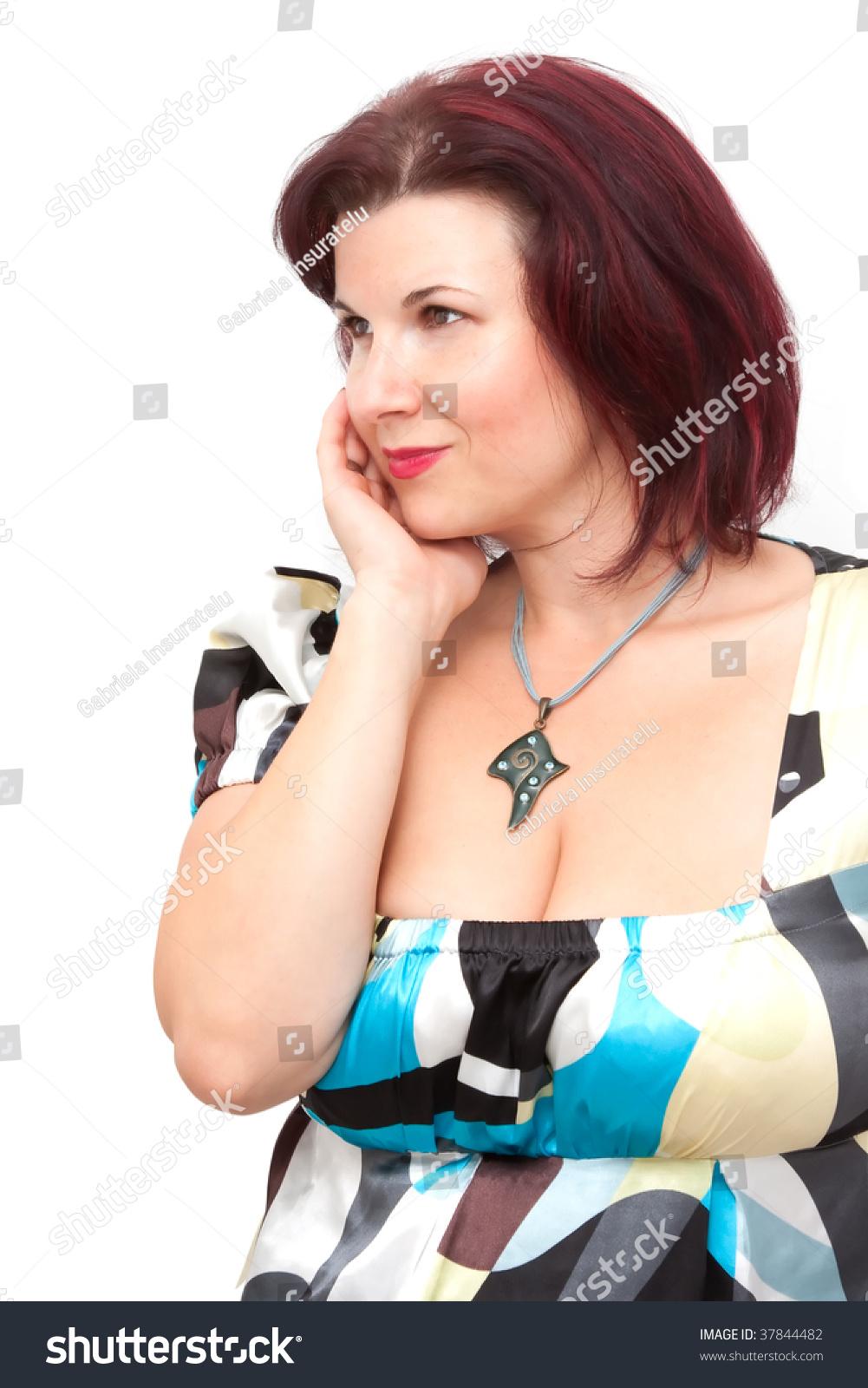 beautiful mature redhead isolated on white stock photo & image