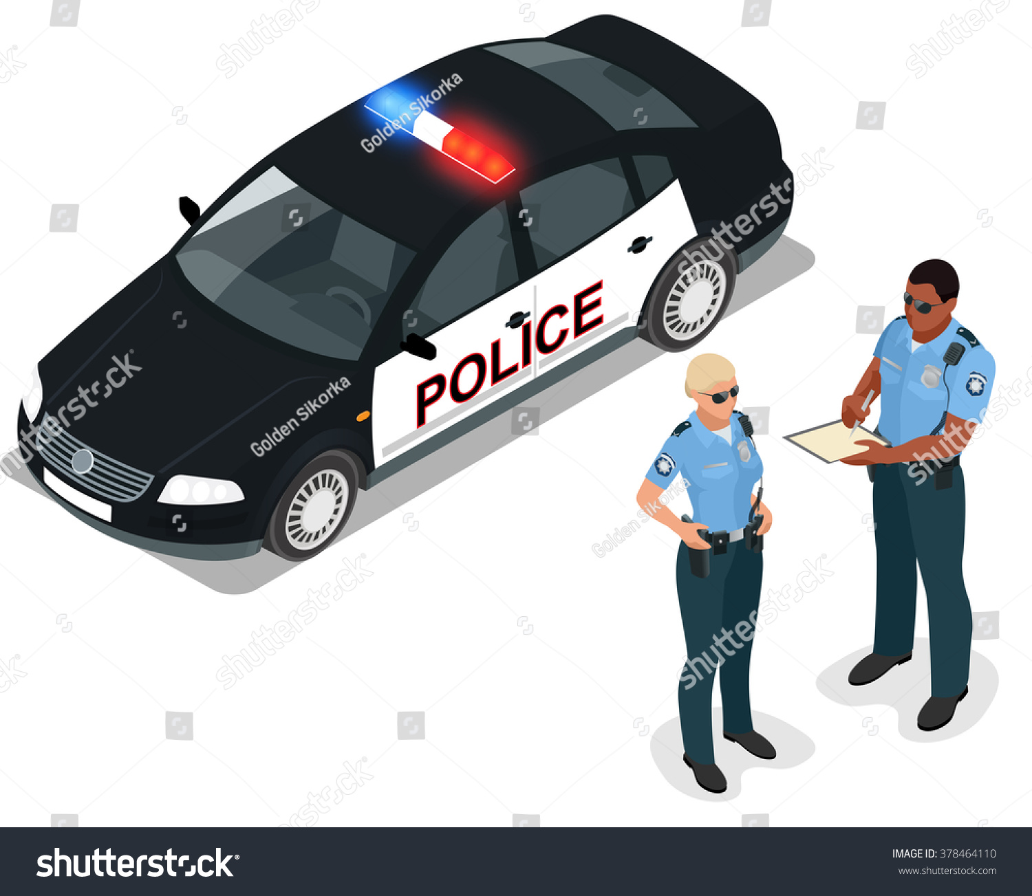 Isometric Police Car Cruiser Prowler Squad Stock Vector 378464110