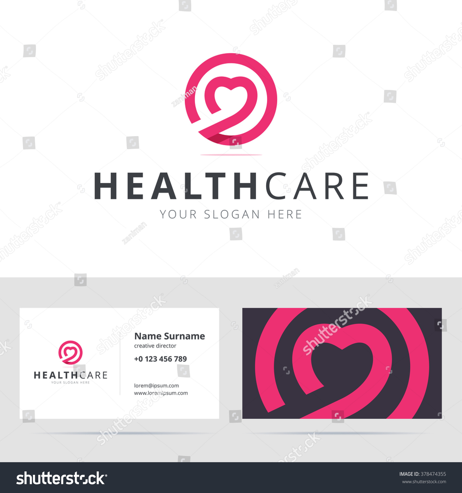 Healt Care Logo Business Card Template Stock Vector