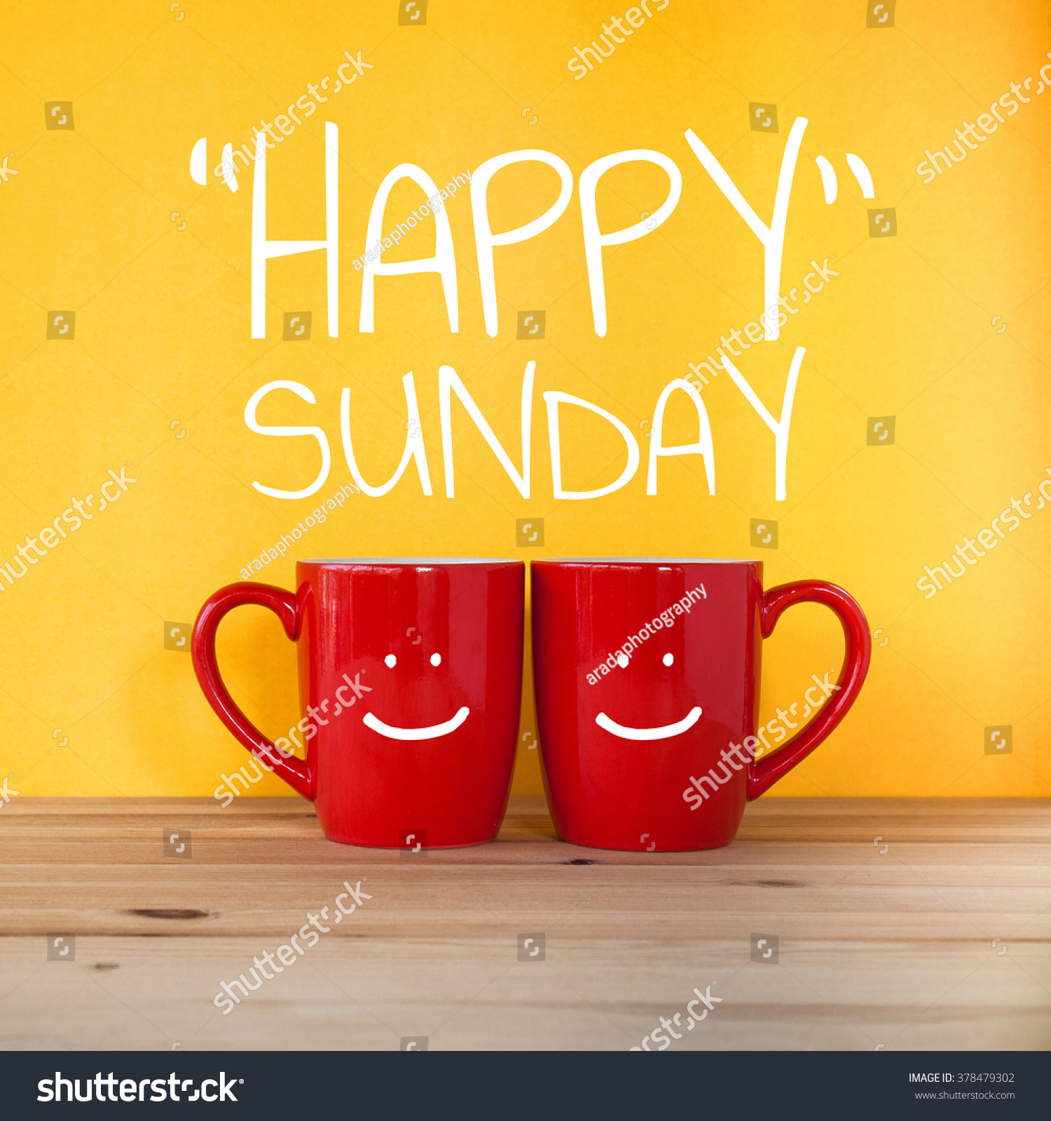 Happy Sunday Word Two Cups Coffee Stock Photo 378479302  Shutterstock