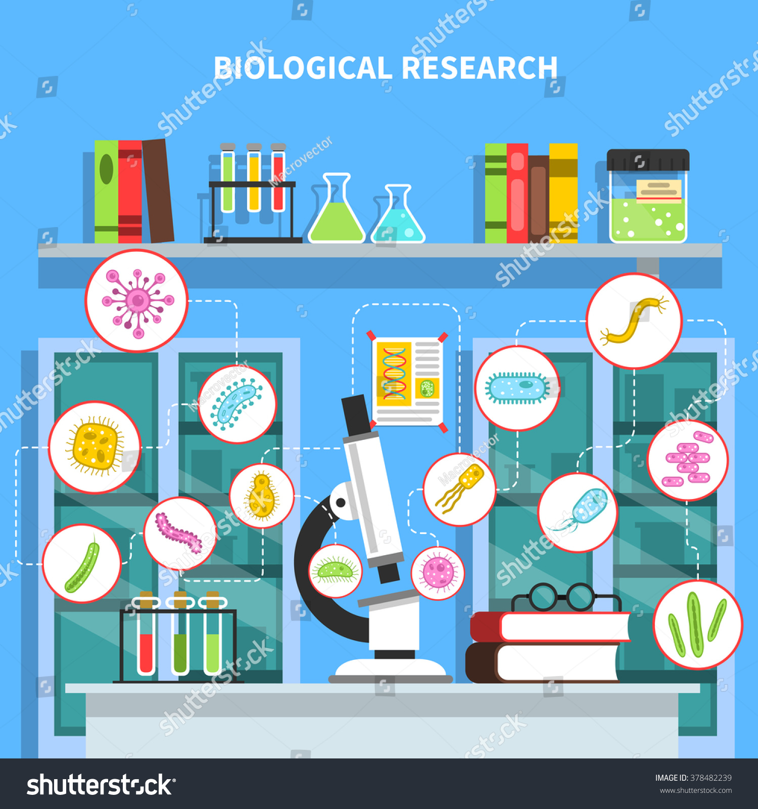 Microbiology Lab Concept Bacteria Research Equipment Stock
