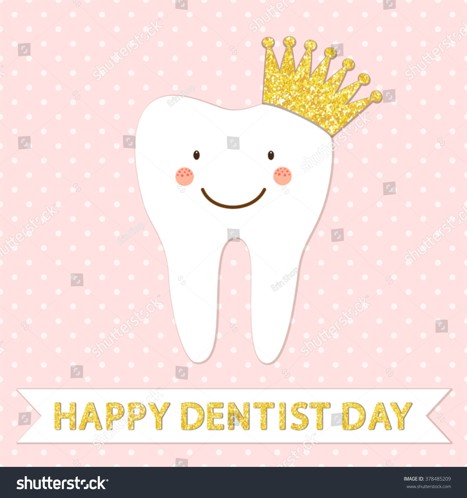 Royalty free cute greeting card happy dentist day as 378485209 cute greeting card happy dentist day as funny smiling cartoon character of tooth with golden glitter m4hsunfo