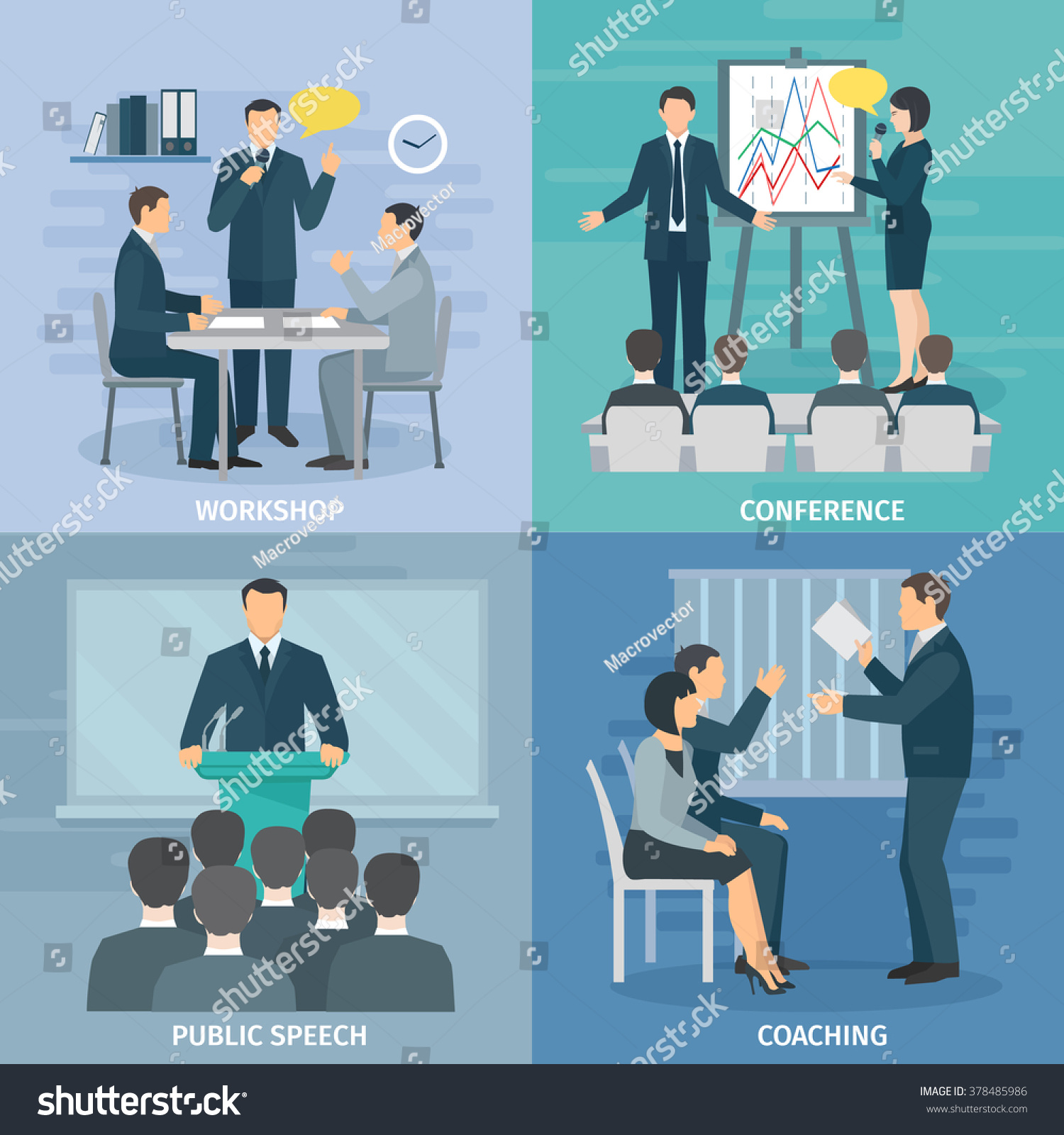 public speaking skills coaching workshop presentation stock vector 378485986