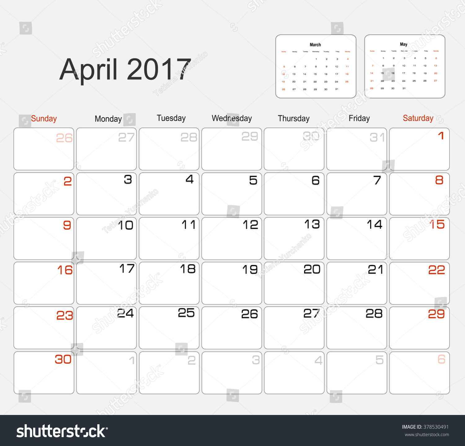 Calendar April Vector : Vector planning calendar april stock