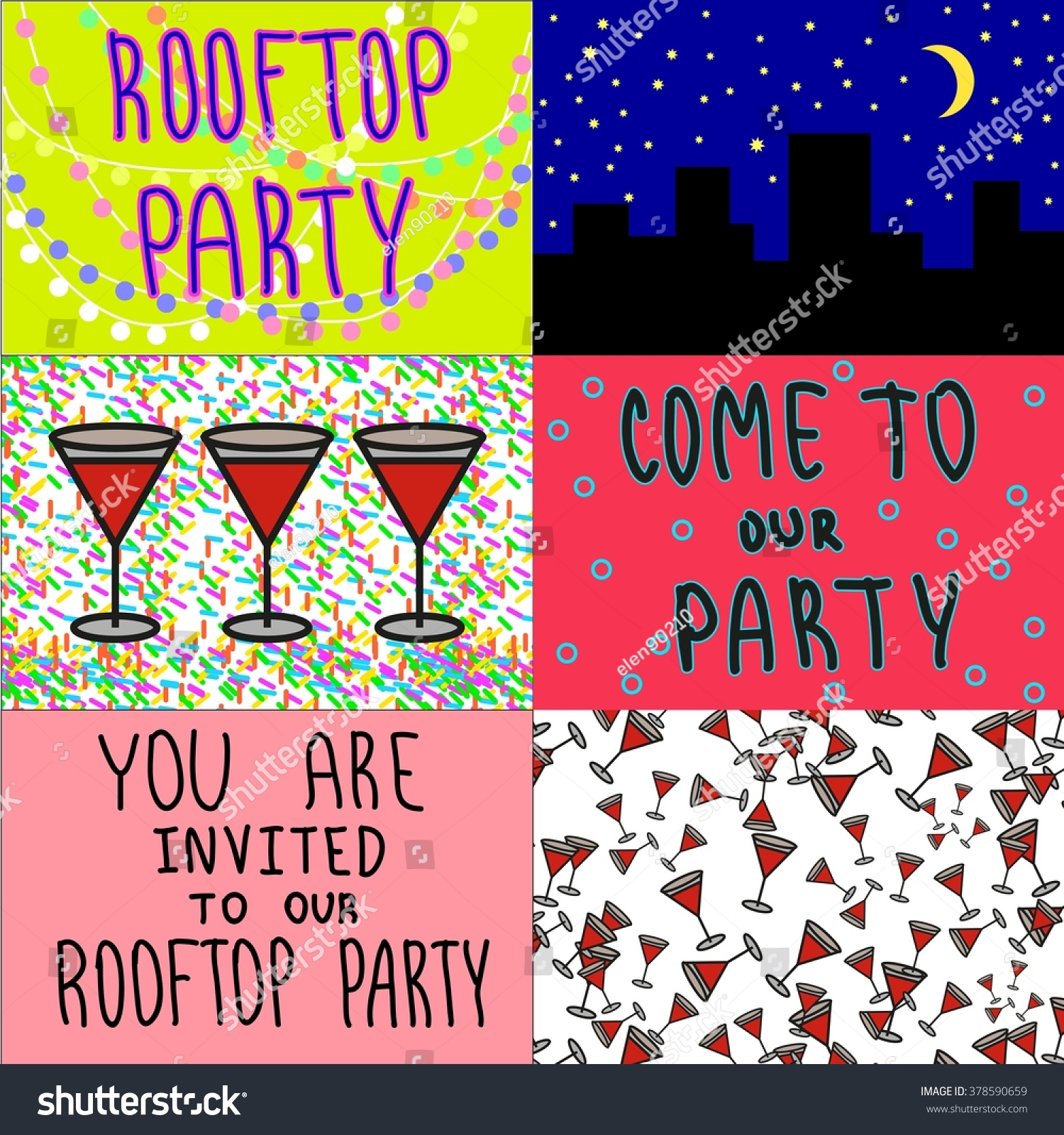 Rooftop Roof Top Night Party Invitation Stock Vector (Royalty Free ...