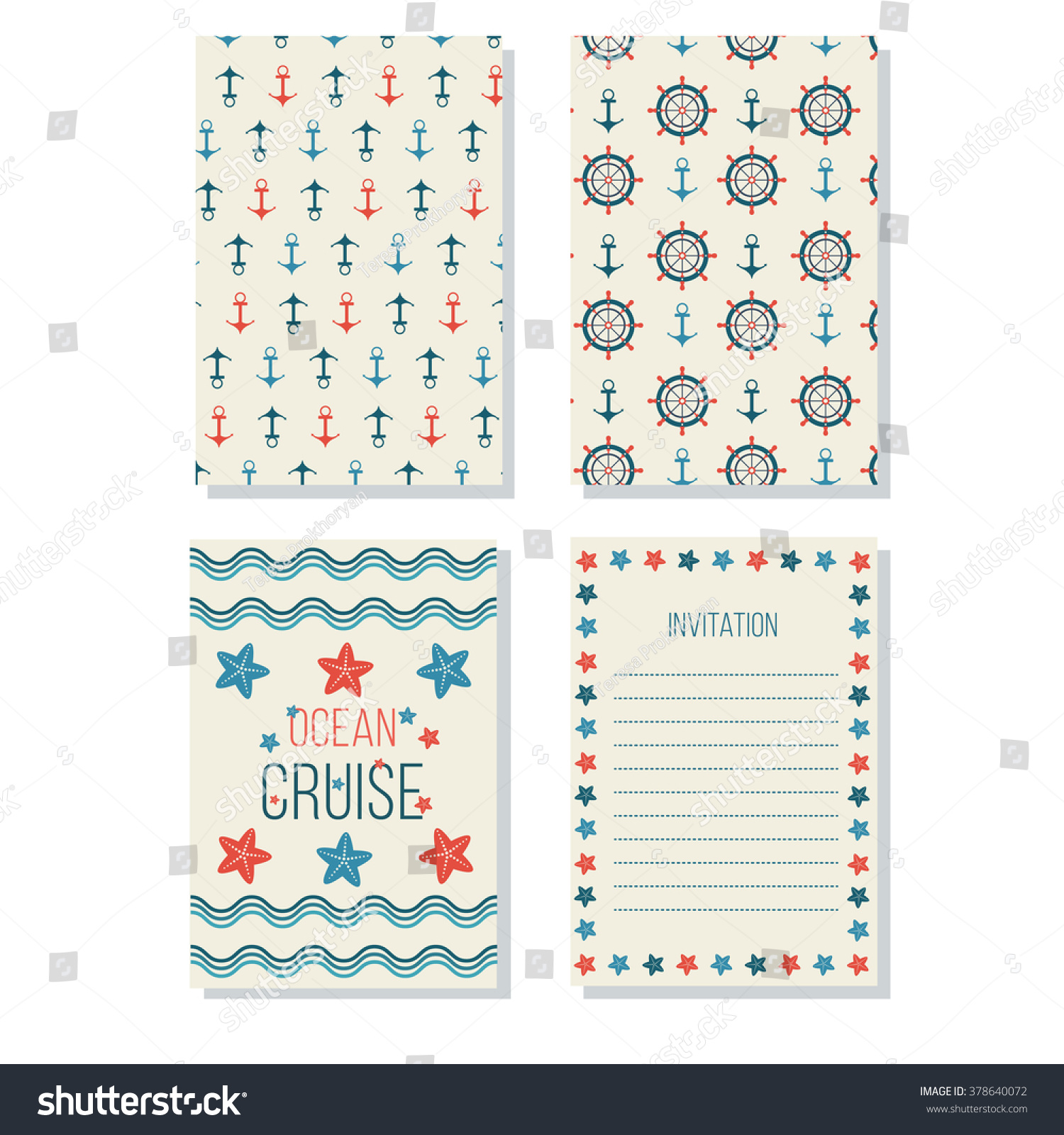 Beautiful Greeting Cards Made Nautical Style Stock Vector 378640072