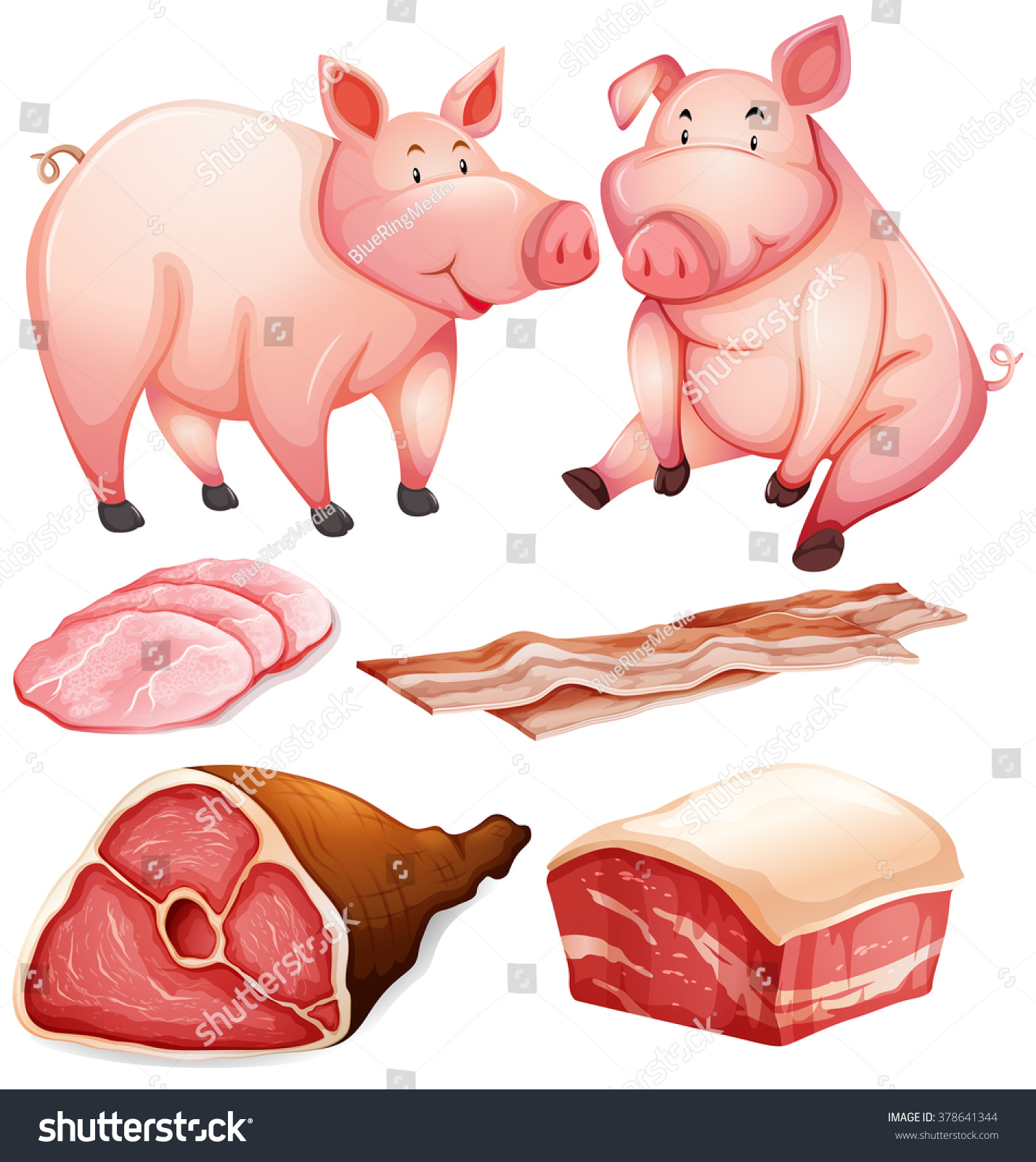Pig Pig Products Illustration Stock Vector 378641344