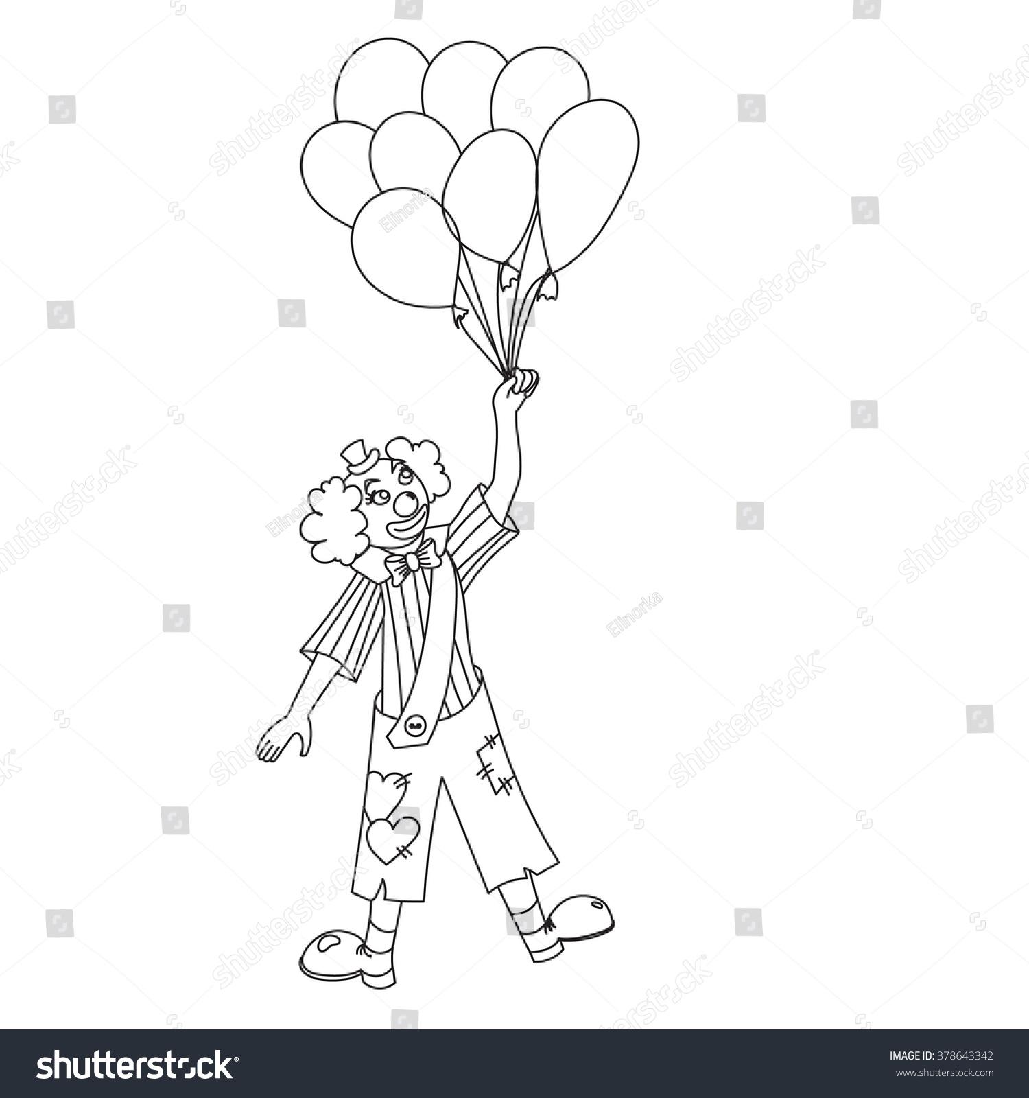 Hand Drawn Clown Clown Holding Balloons Stock Vector 378643342 ...