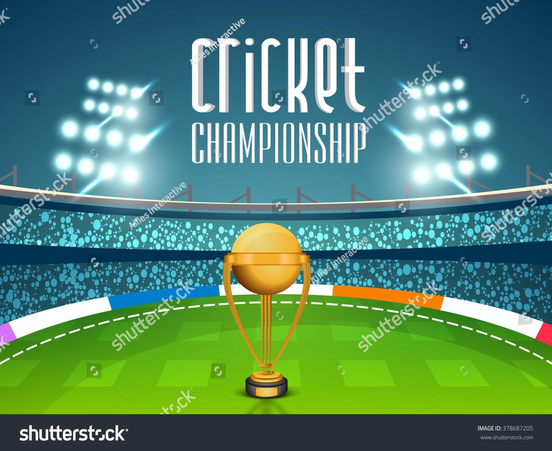 Cricket Vector Background Stock Image: Golden Winning Trophy On Night Stadium Stock Vector