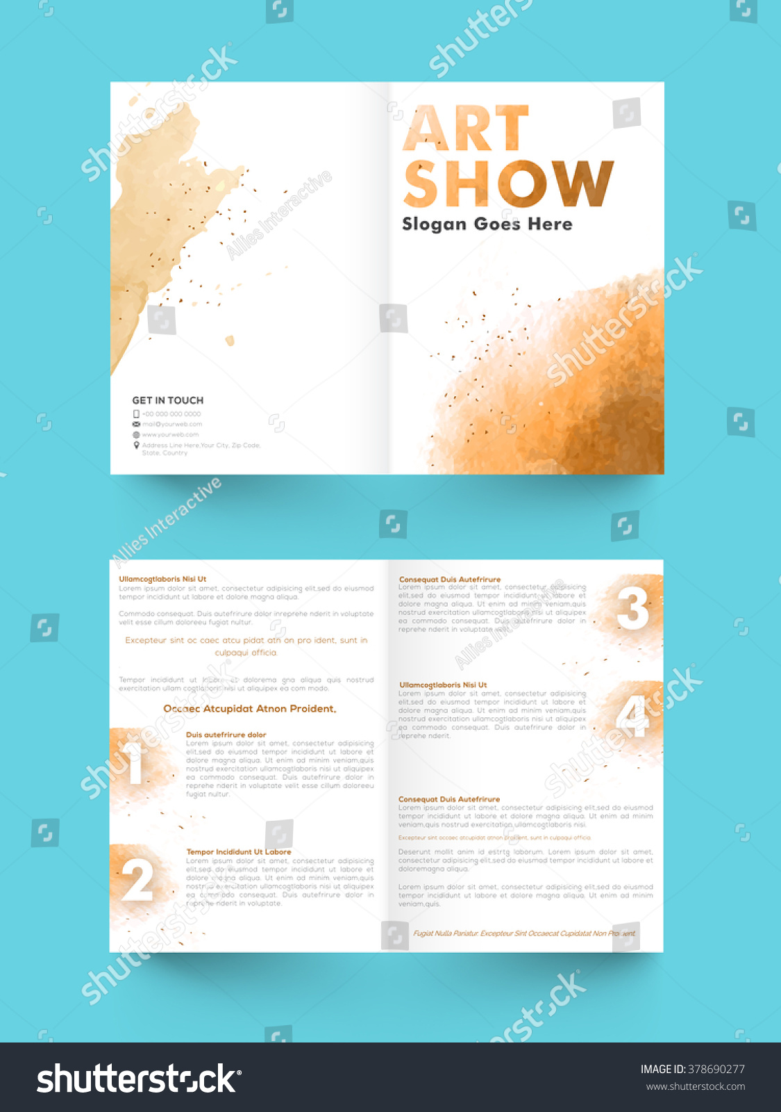 brochure templates pages - creative abstract two page brochure template stock vector