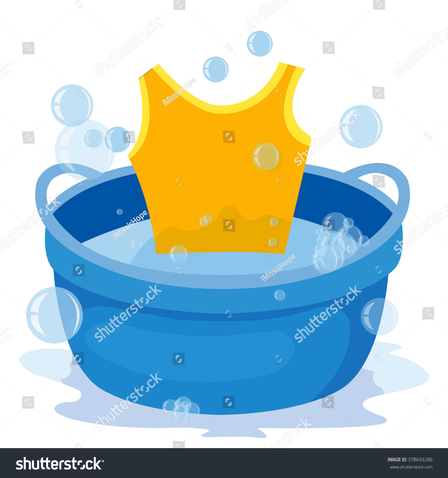 Basin Soap Suds Water Washing Clothes Stock Vector