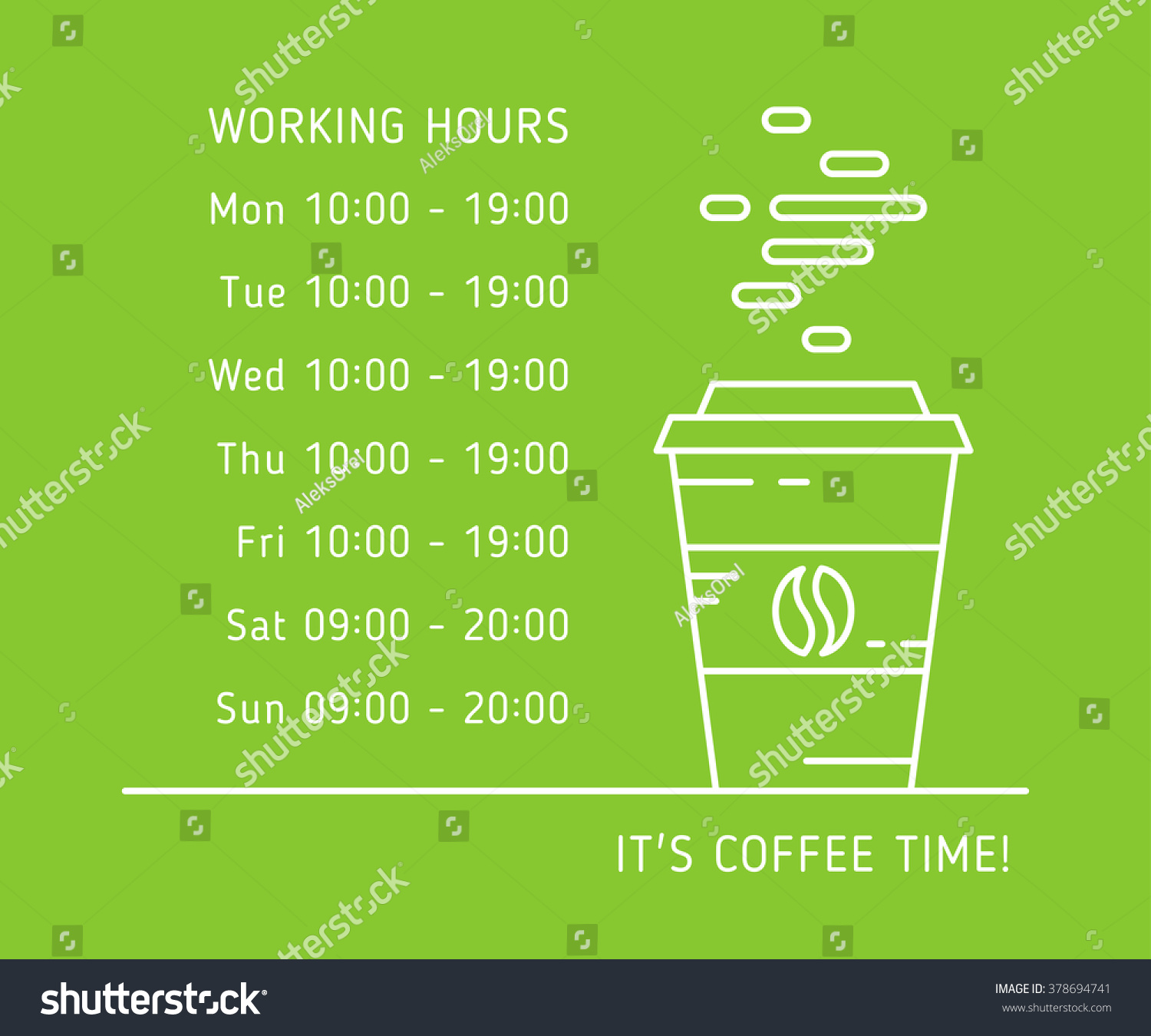 Coffee Time Working Hours Linear Vector Stock Vector 378694741 ...