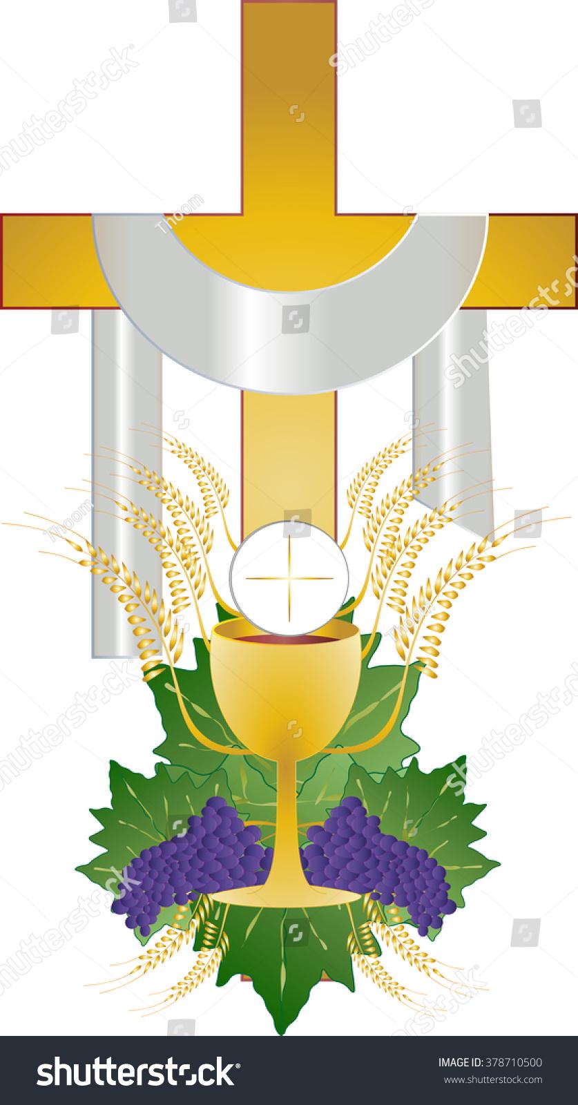 Eucharist Symbol Bread Wine Chalice Host Stock Vector Royalty Free