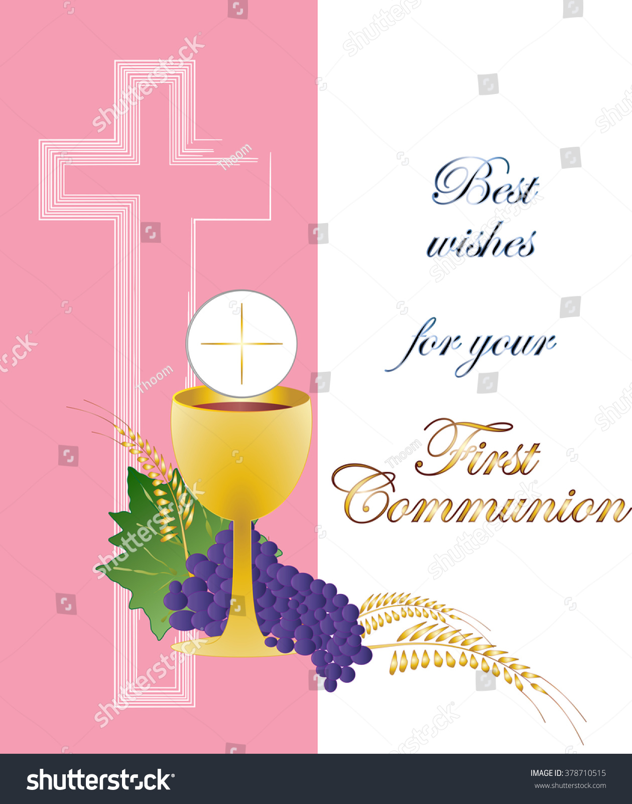 Eucharist symbol of bread and wine chalice and host with wheat ears wreath and grapes with a cross First communion illustration