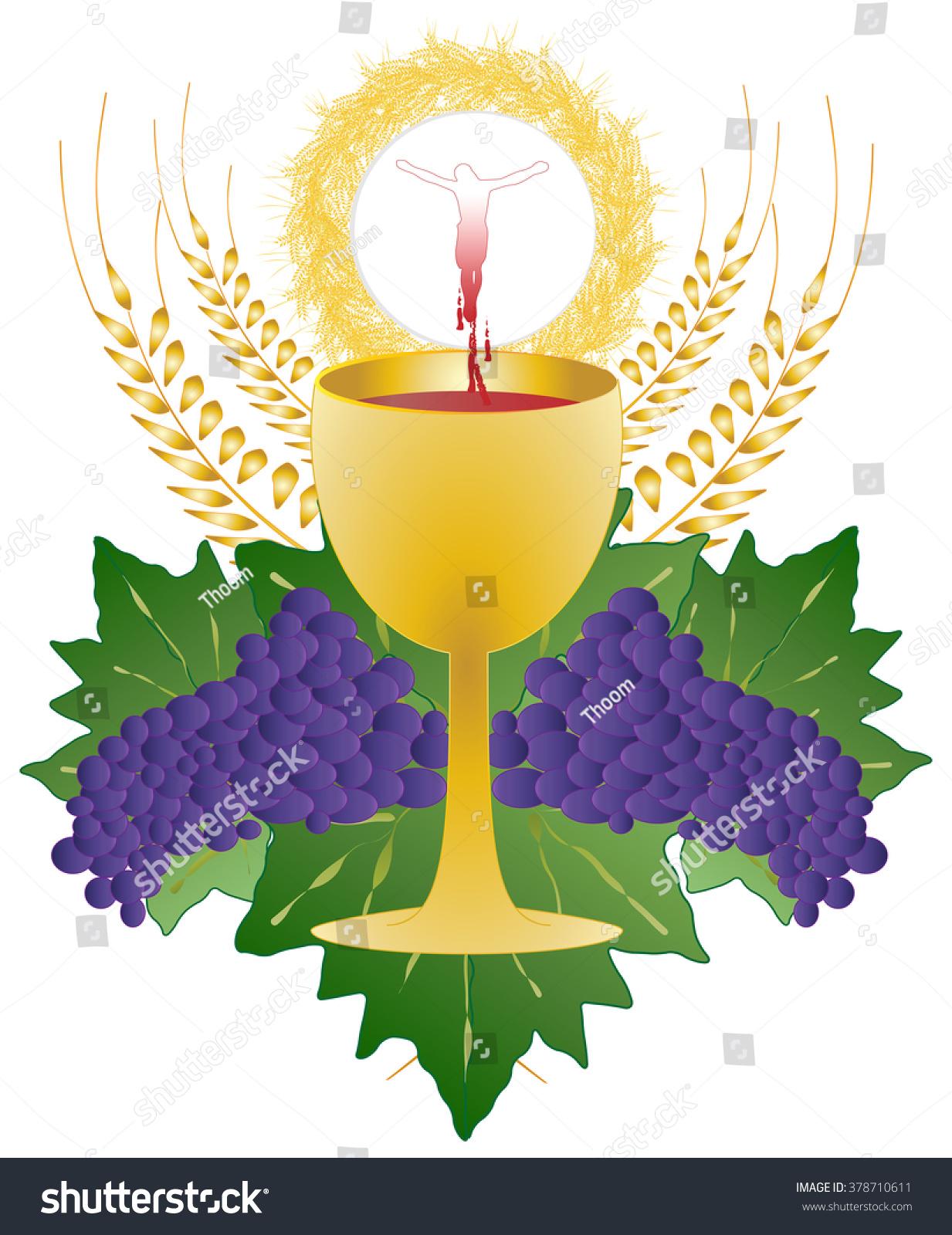eucharist symbol bread wine chalice host stock vektor