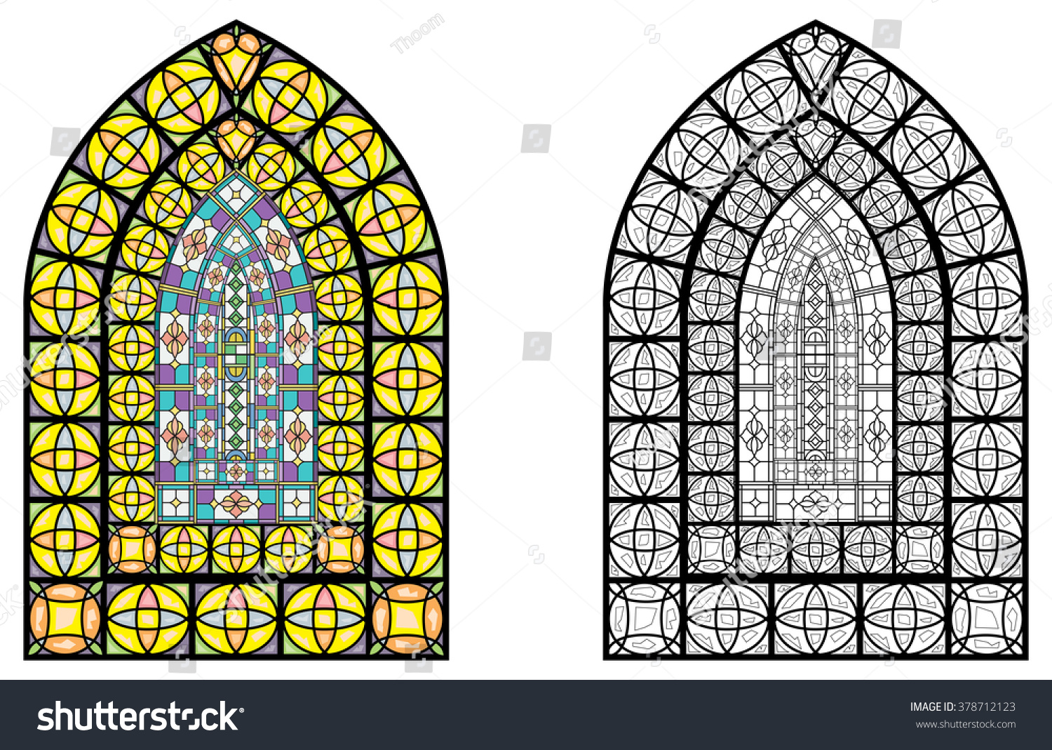 Drawing Glass Window : Church stained glass windows vector illustration stock