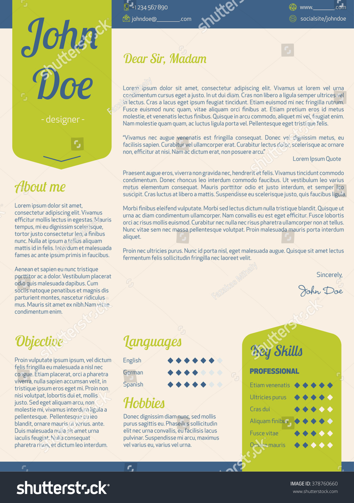 modern cover letter resume cv template with green ribbons - Cover Letter And Resume Template