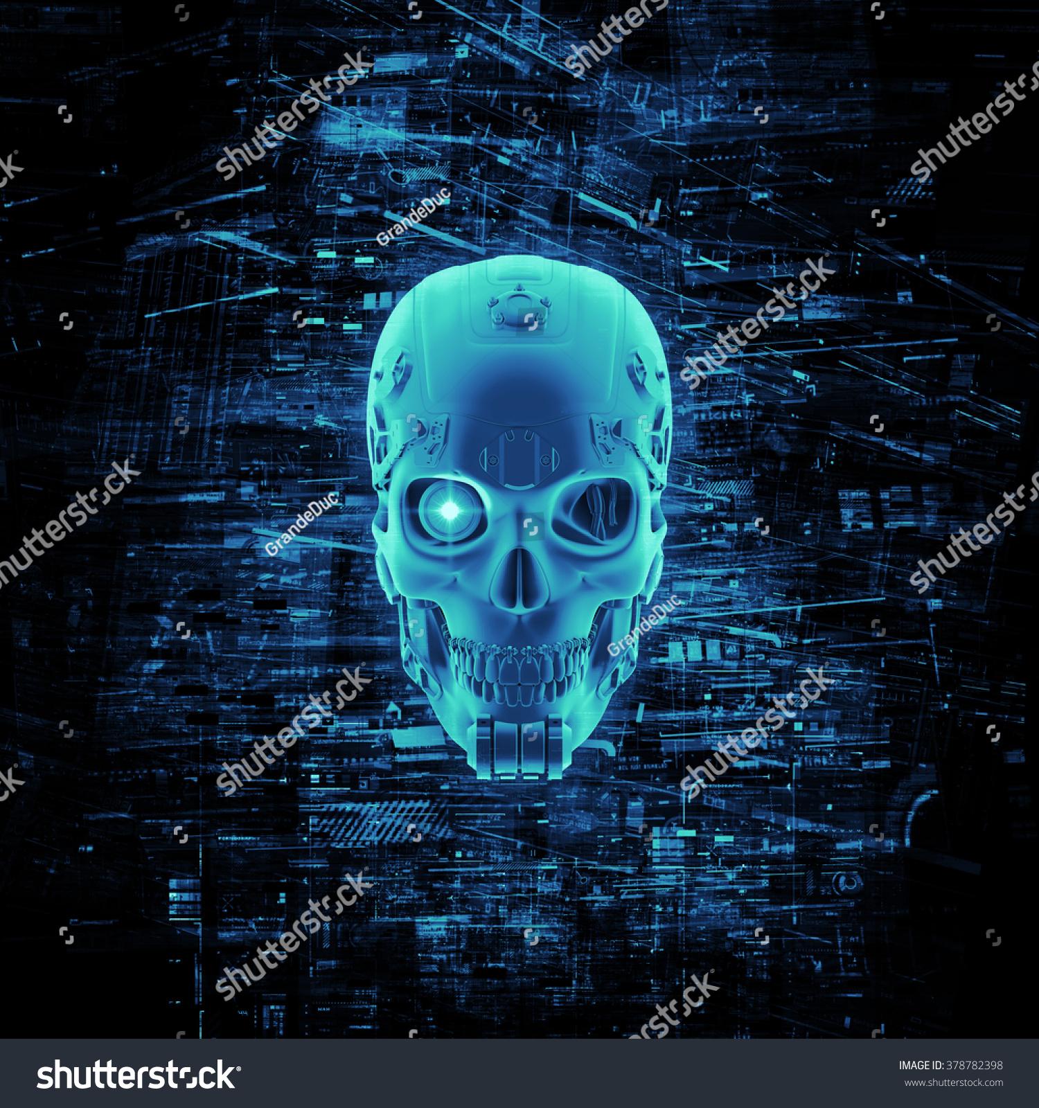 Virtual Reality Skull 3 D Render Cyborg Stock Illustration 378782398 ...