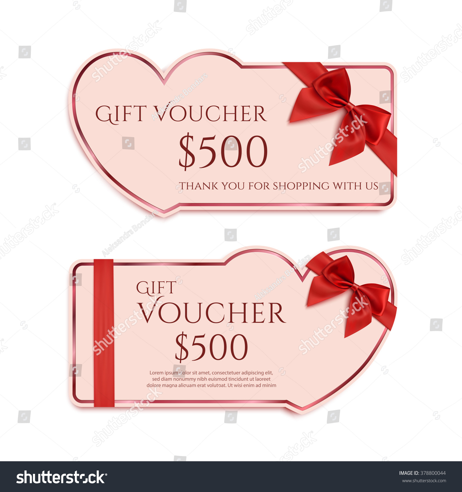 Two Gift Card Template Red Ribbon Stock Illustration 378800044