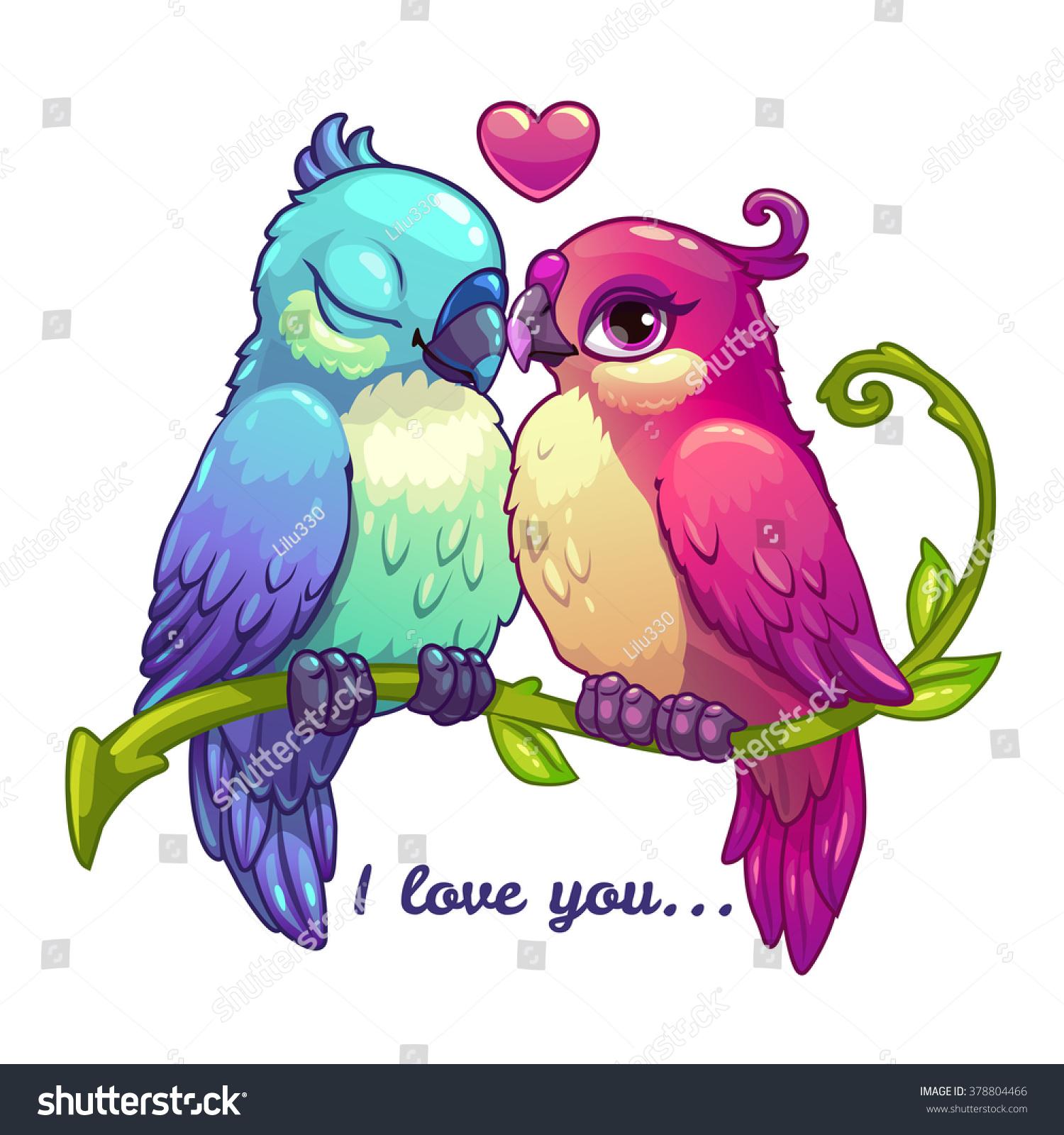 In Love Cartoon: Cute Birds Couple Love Cartoon Vector Stock Vector