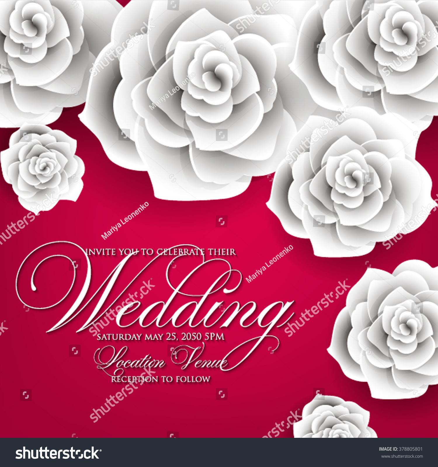Vector Paper Flower Origami Rose Wedding Stock Vector 378805801 ...