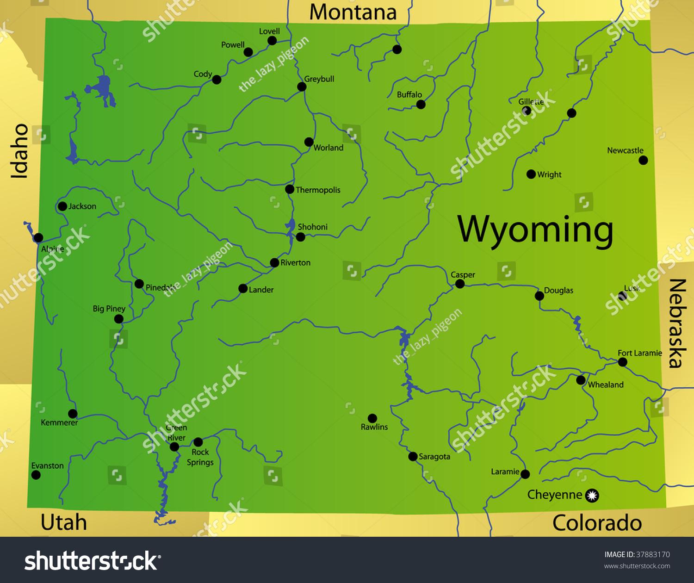 Detailed Map Wyoming State Usa Stock Illustration 37883170