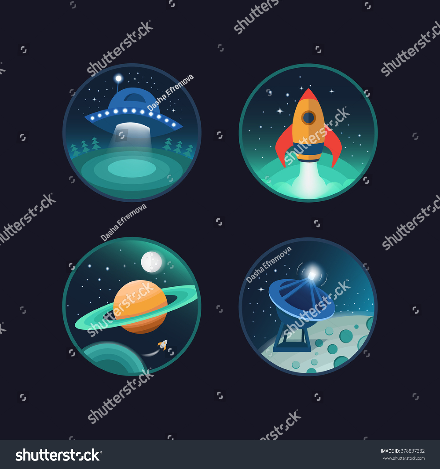 set vector icons space flat icons stock vector 378837382 shutterstock