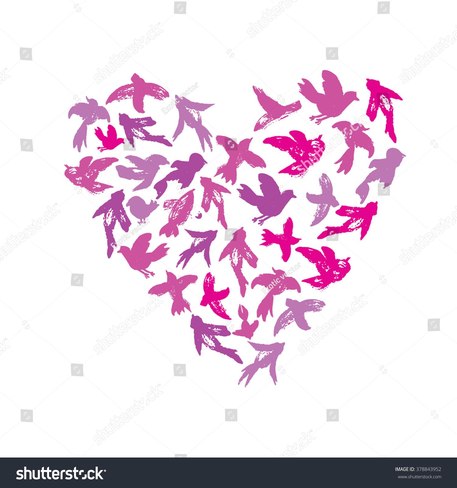 Vector Watercolor Heart Birds Silhouettes Flying Stock Vector (2018 ...