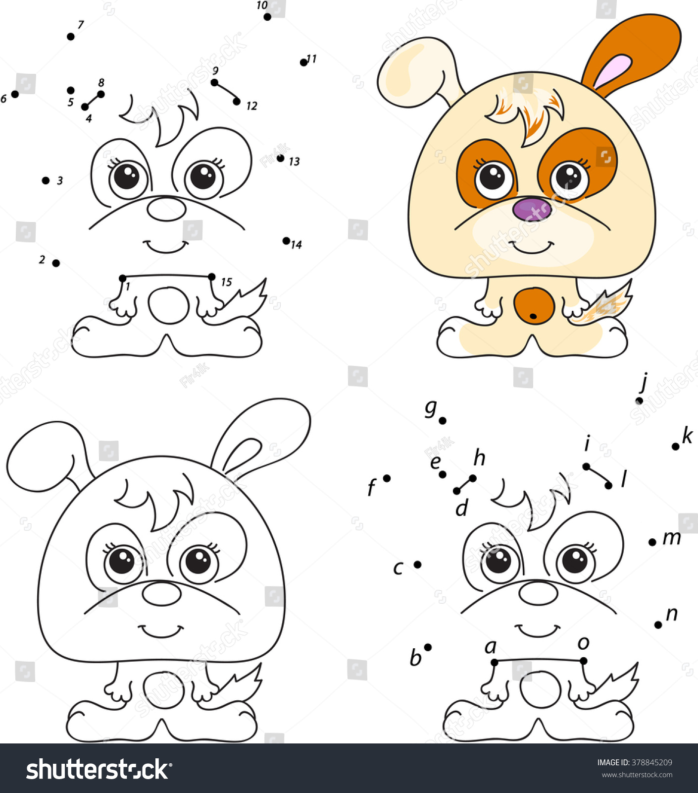 Funny Cute Puppy Coloring Book Dot Stock Vector 378845209 - Shutterstock