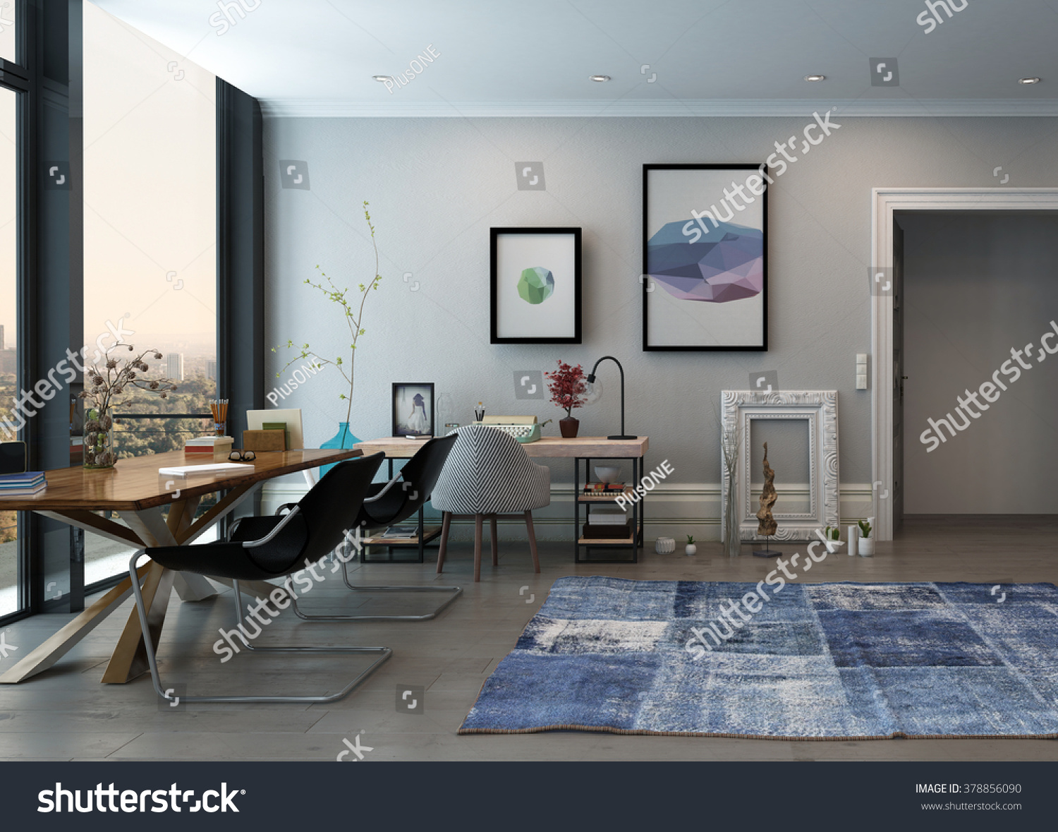 open space home office. open space home office concept with eclectic furnishings in modern high r