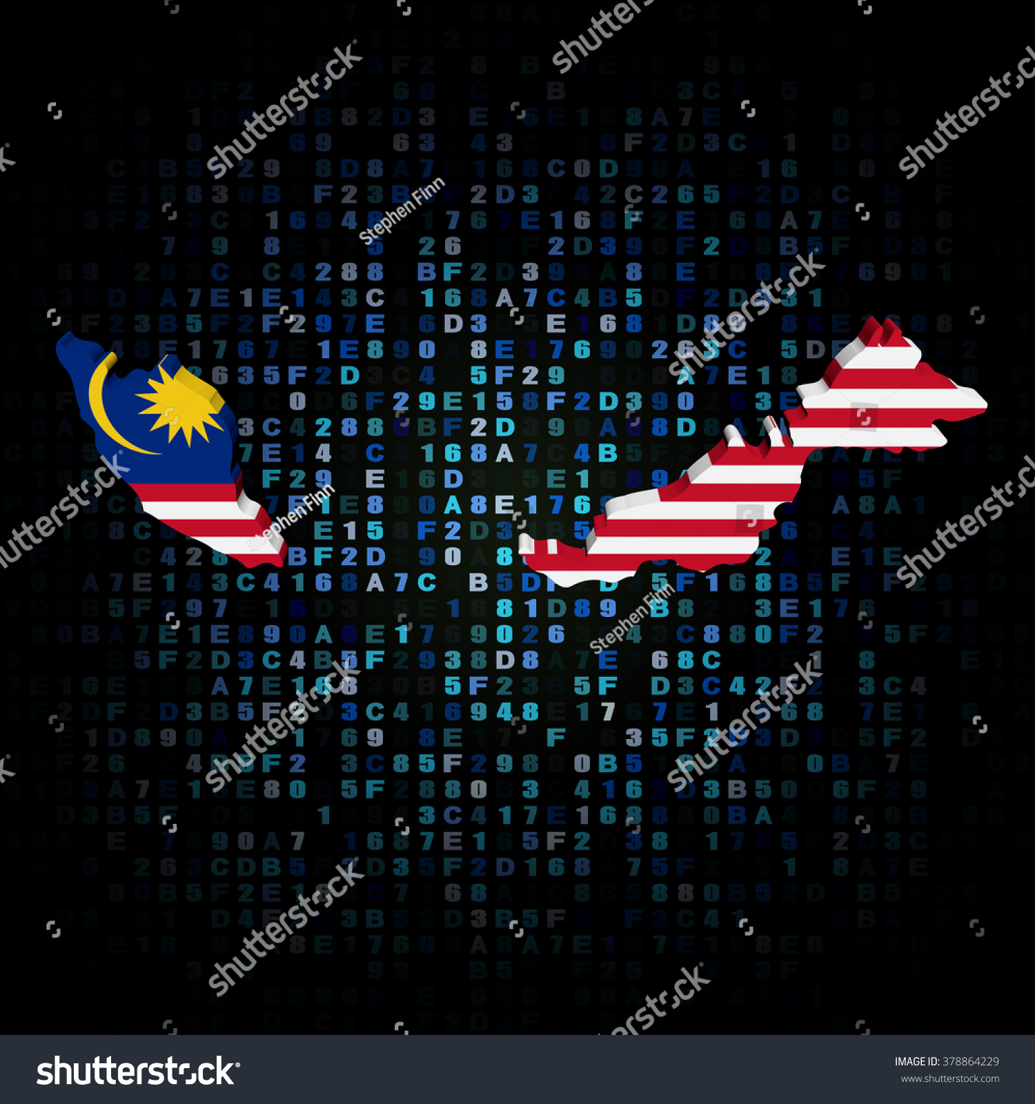 Malaysia Map Flag On Hex Code Stock Illustration 378864229